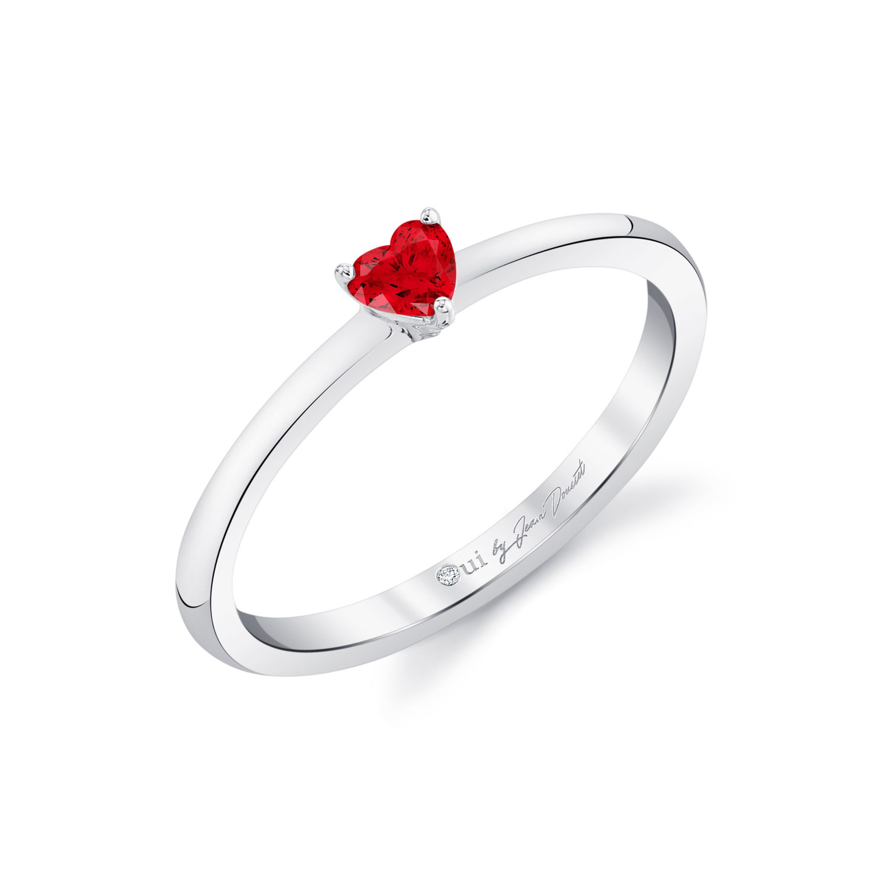 La Petite Heart Ruby Ring in 18k White Gold Profile View by Oui by Jean Dousset