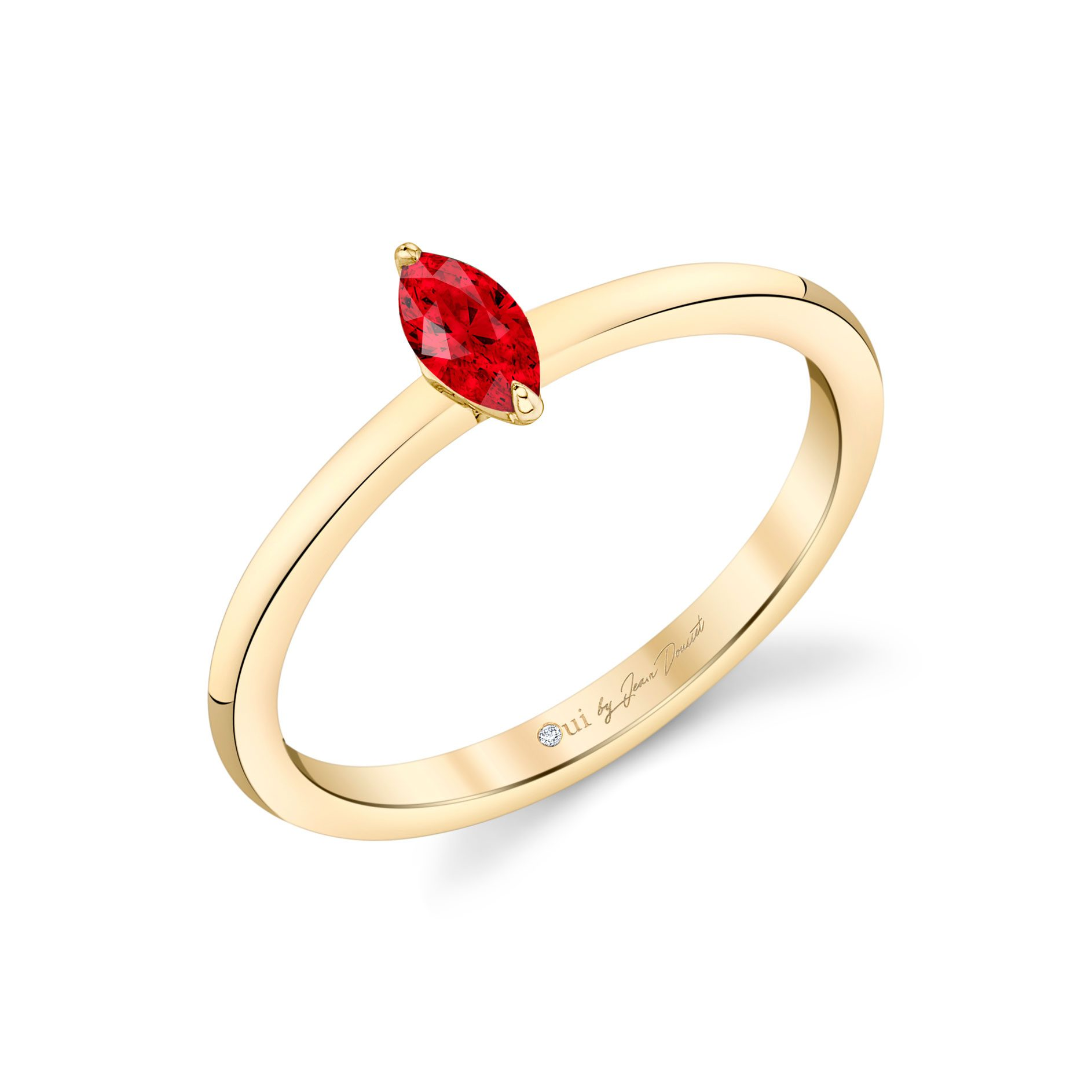 La Petite Marquise Ruby Ring in 18k Yellow Gold Profile View by Oui by Jean Dousset