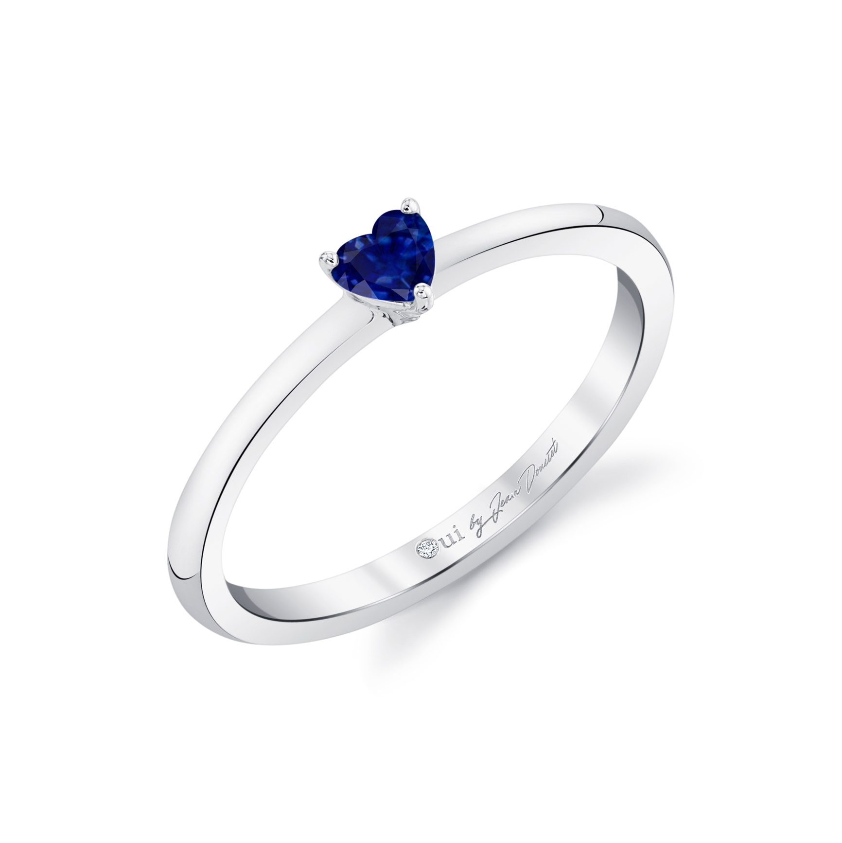La Petite Heart Blue Sapphire Ring in 18k White Gold Profile View by Oui by Jean Dousset