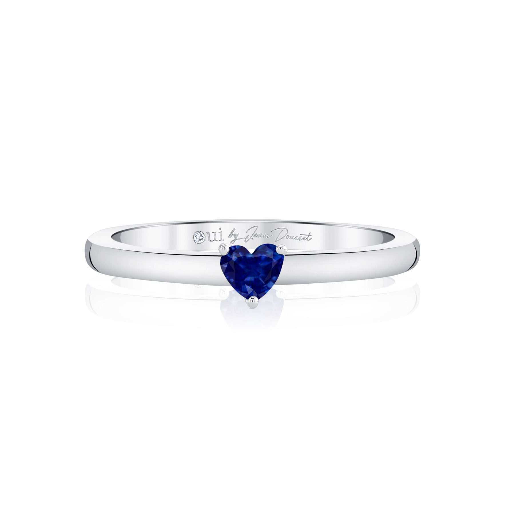 La Petite Heart Blue Sapphire Ring in 18k White Gold Front View by Oui by Jean Dousset