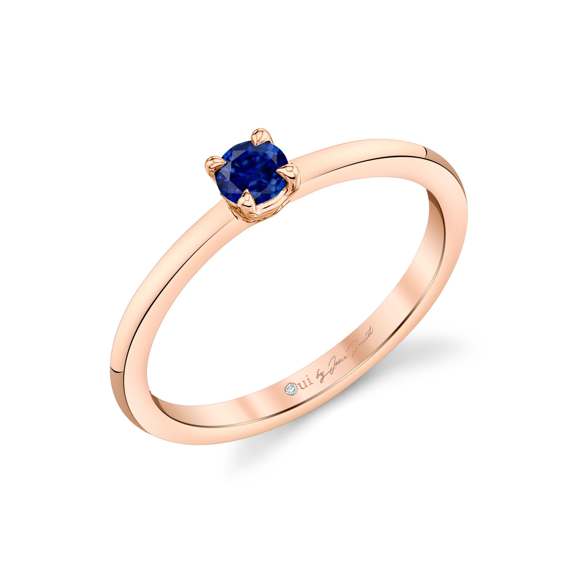 La Petite Round Brilliant Blue Sapphire Ring in 18k Rose Gold Profile View by Oui by Jean Dousset