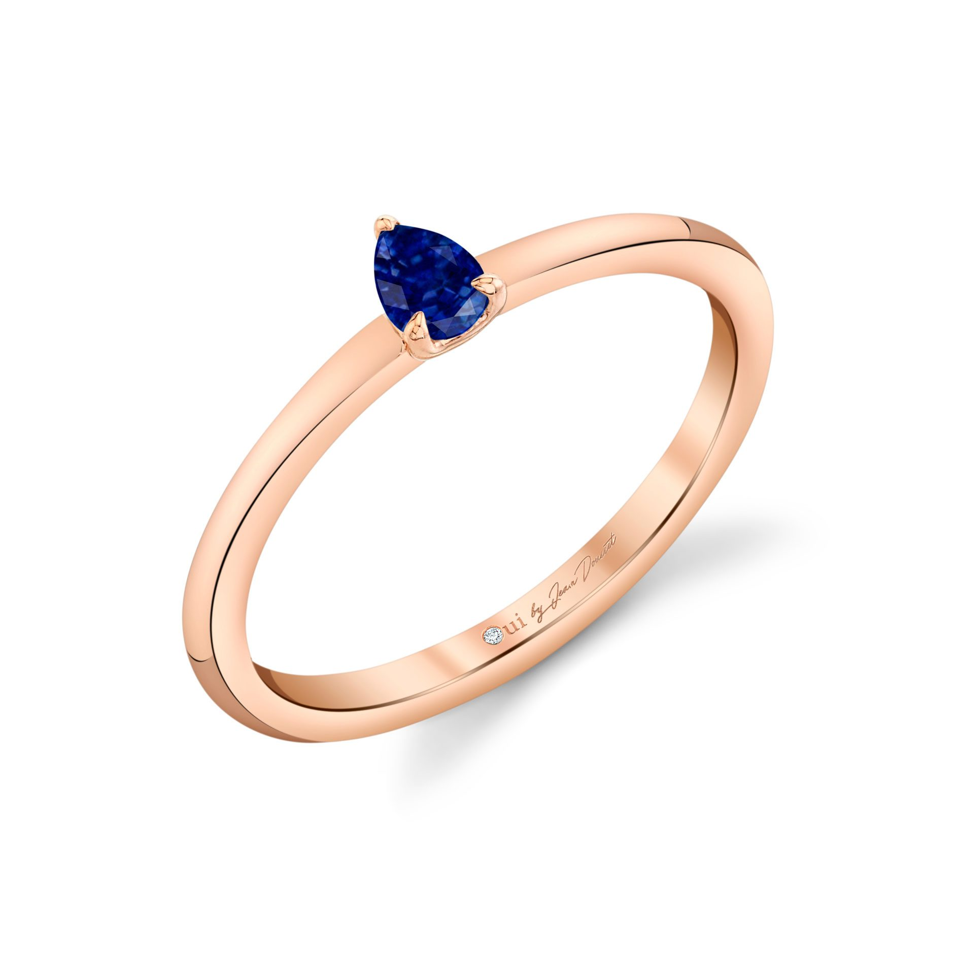La Petite Pear Blue Sapphire Ring in 18k Rose Gold Profile View by Oui by Jean Dousset