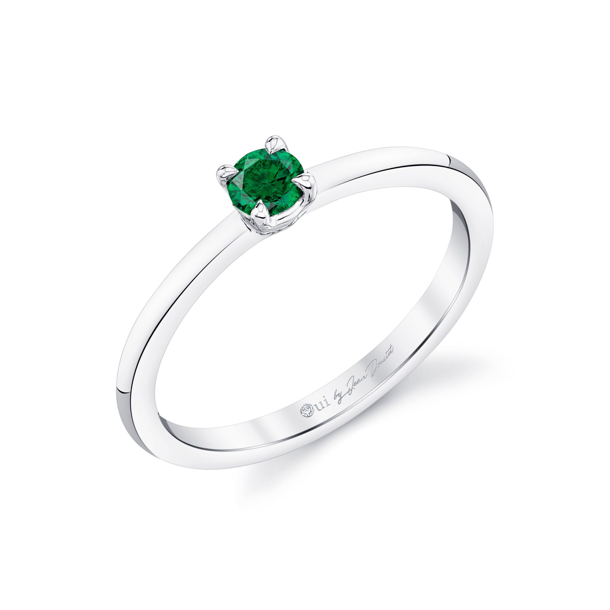 La Petite Round Brilliant Emerald Ring in 18k White Gold Profile View by Oui by Jean Dousset