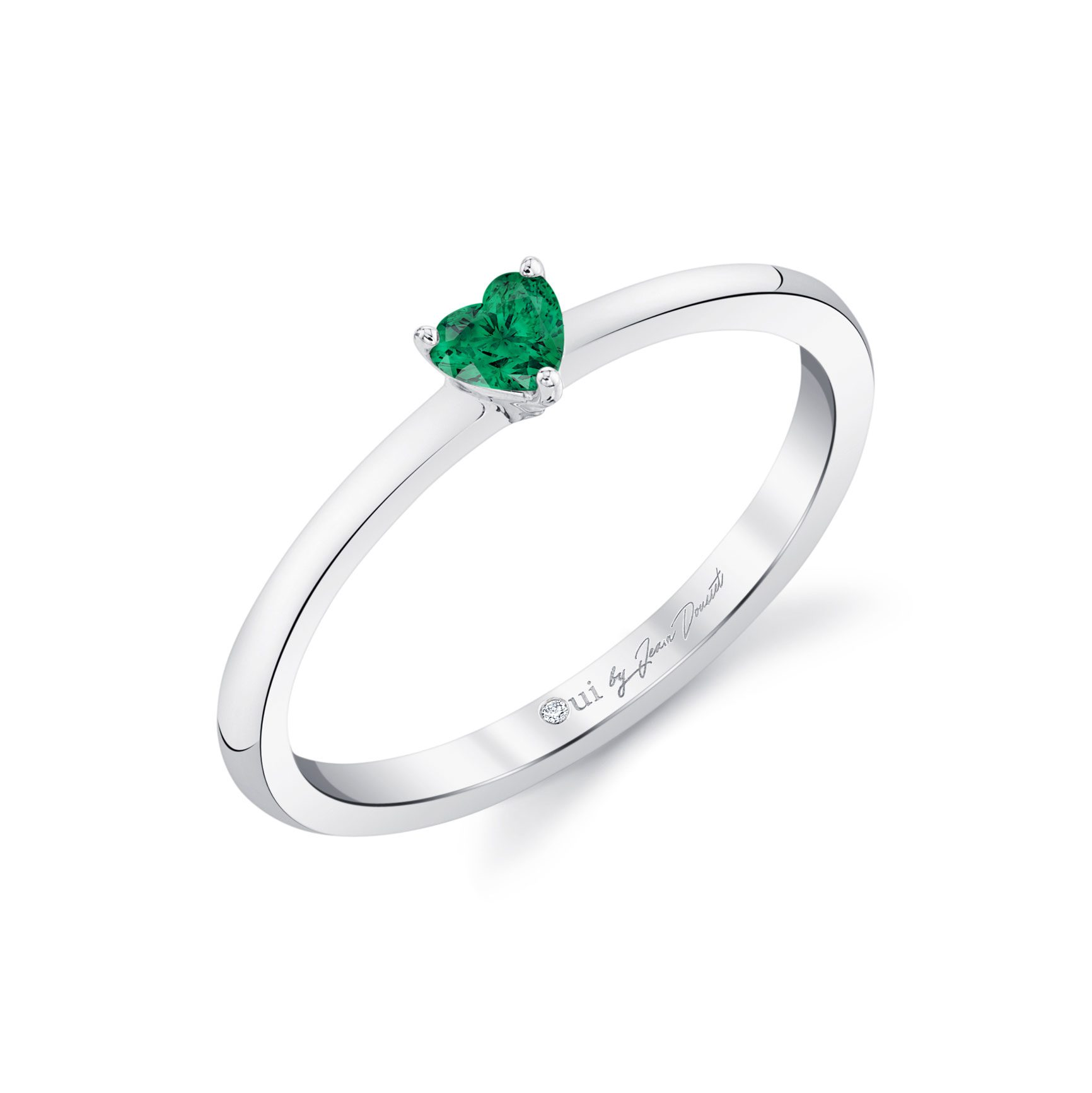 La Petite Heart Emerald Ring in 18k White Gold Profile View by Oui by Jean Dousset