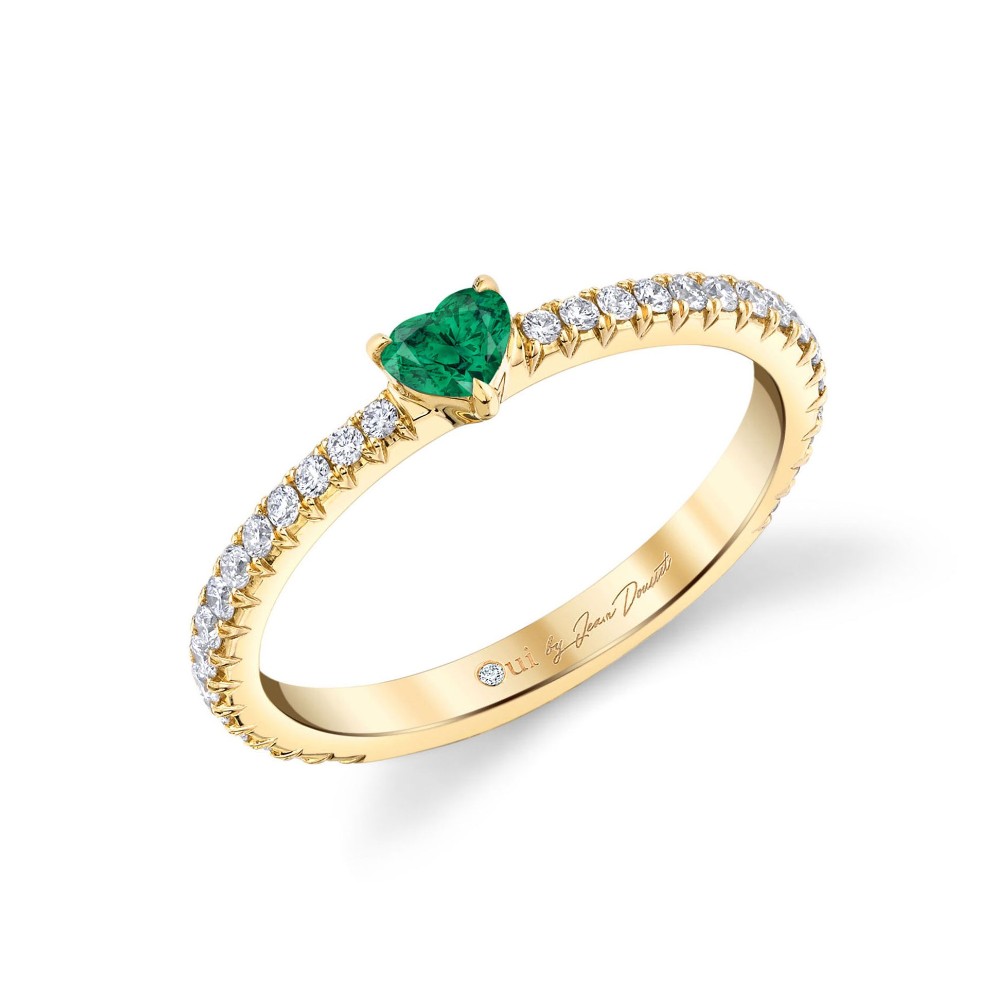 La Petite Heart Emerald Ring diamond pavé band in 18k Yellow Gold Profile View by Oui by Jean Dousset