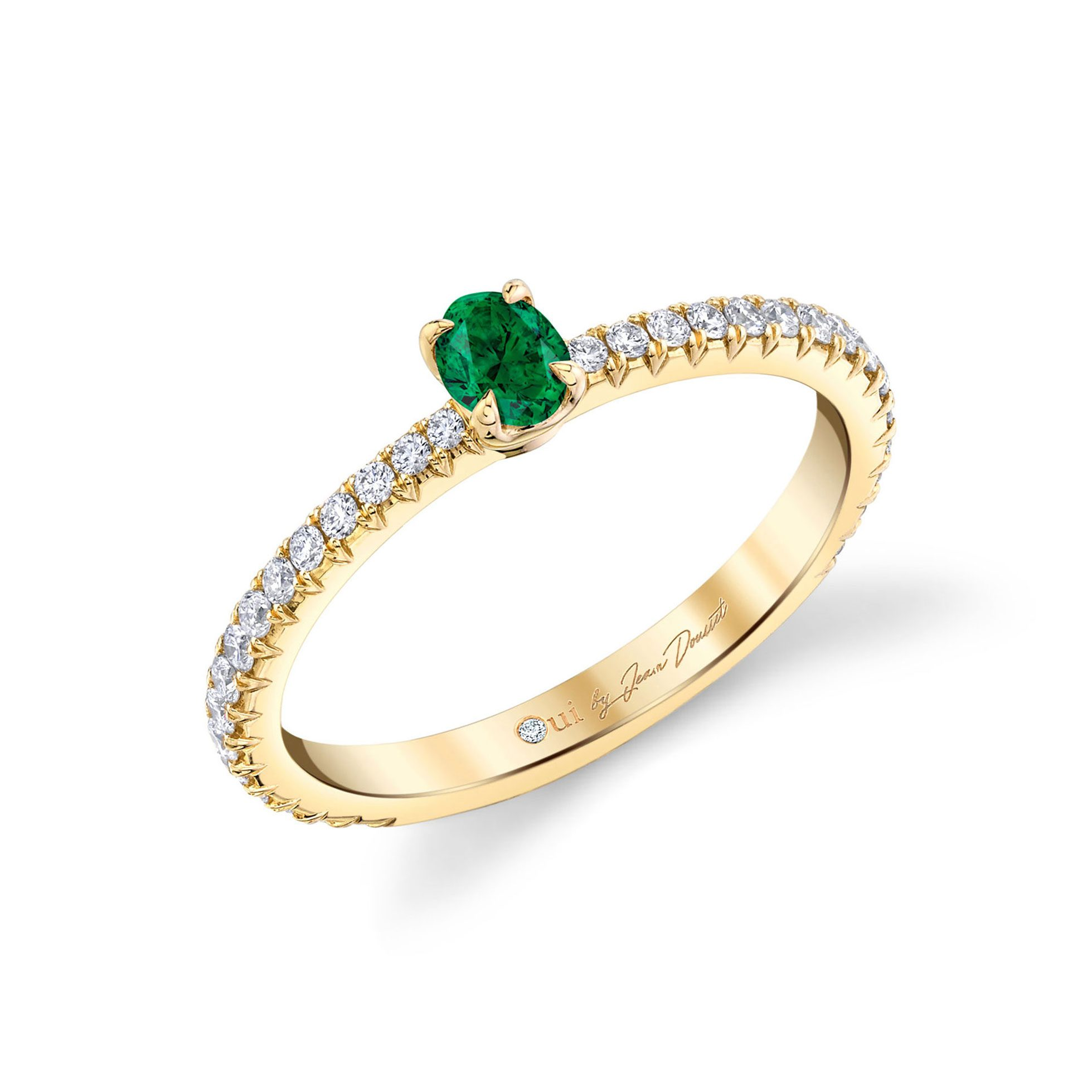 La Petite Oval Emerald Ring diamond pavé band in 18k Yellow Gold Profile View by Oui by Jean Dousset