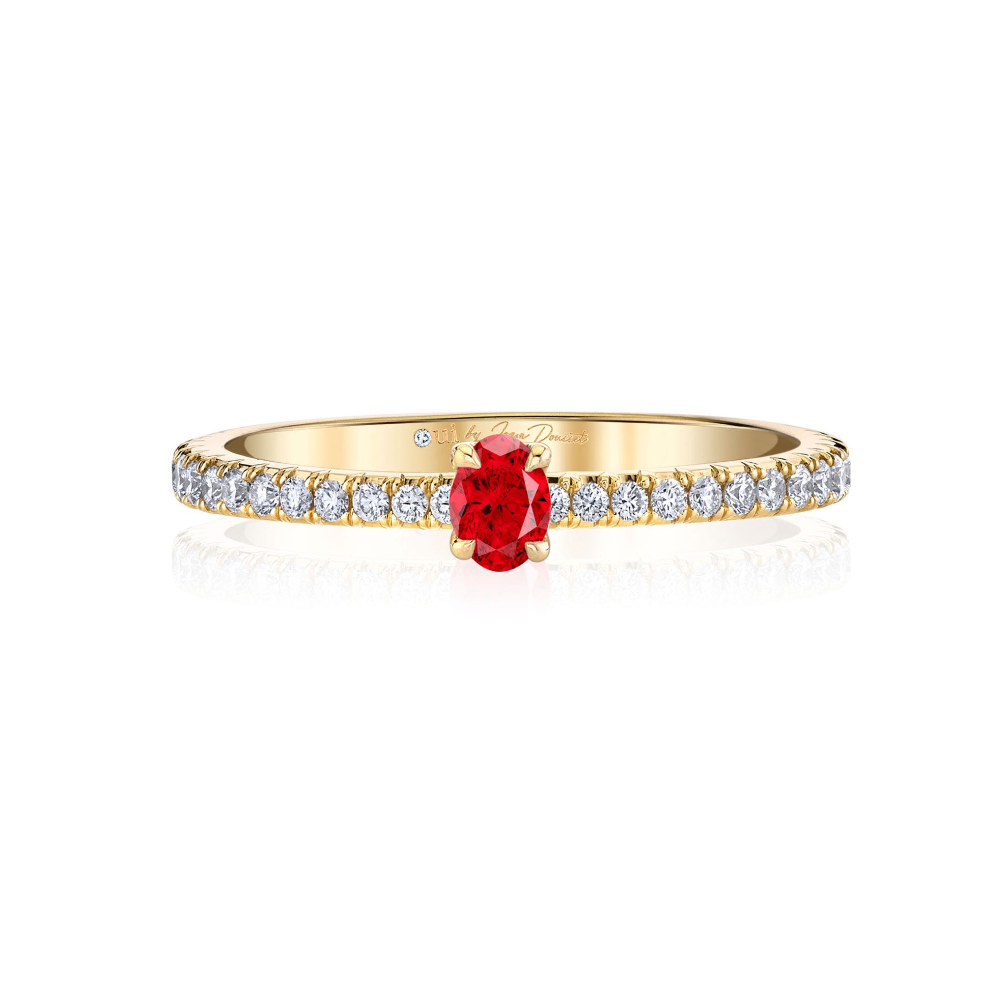 La Petite Oval Ruby Ring diamond pavé band in 18k Yellow Gold Front View by Oui by Jean Dousset