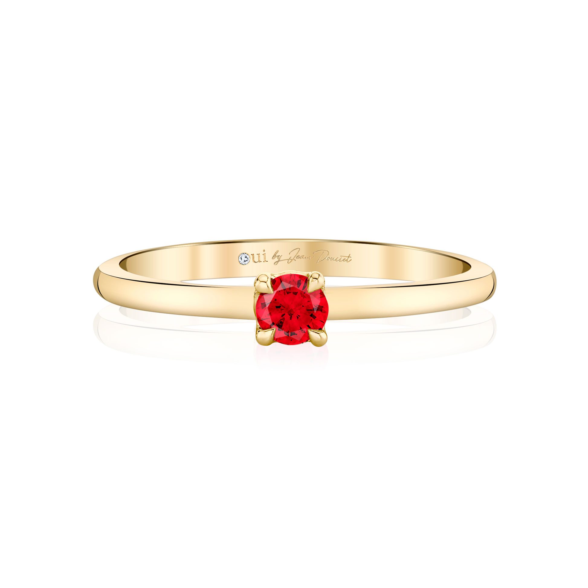 La Petite Round Brilliant Ruby Ring in 18k Yellow Gold Front View by Oui by Jean Dousset