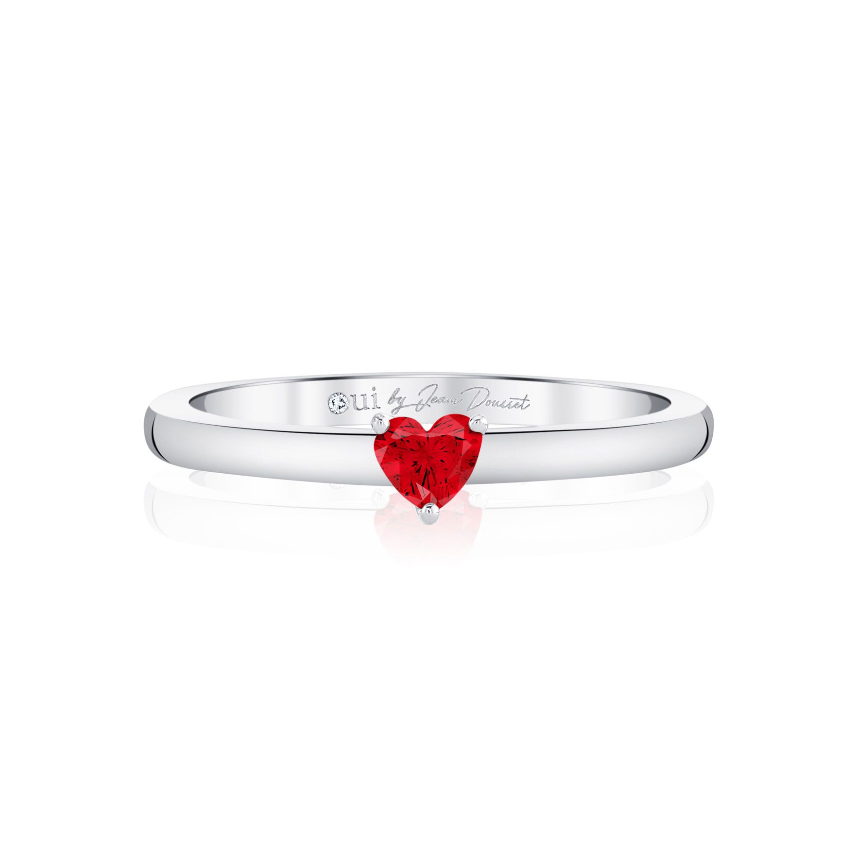 La Petite Heart Ruby Ring in 18k White Gold Front View by Oui by Jean Dousset
