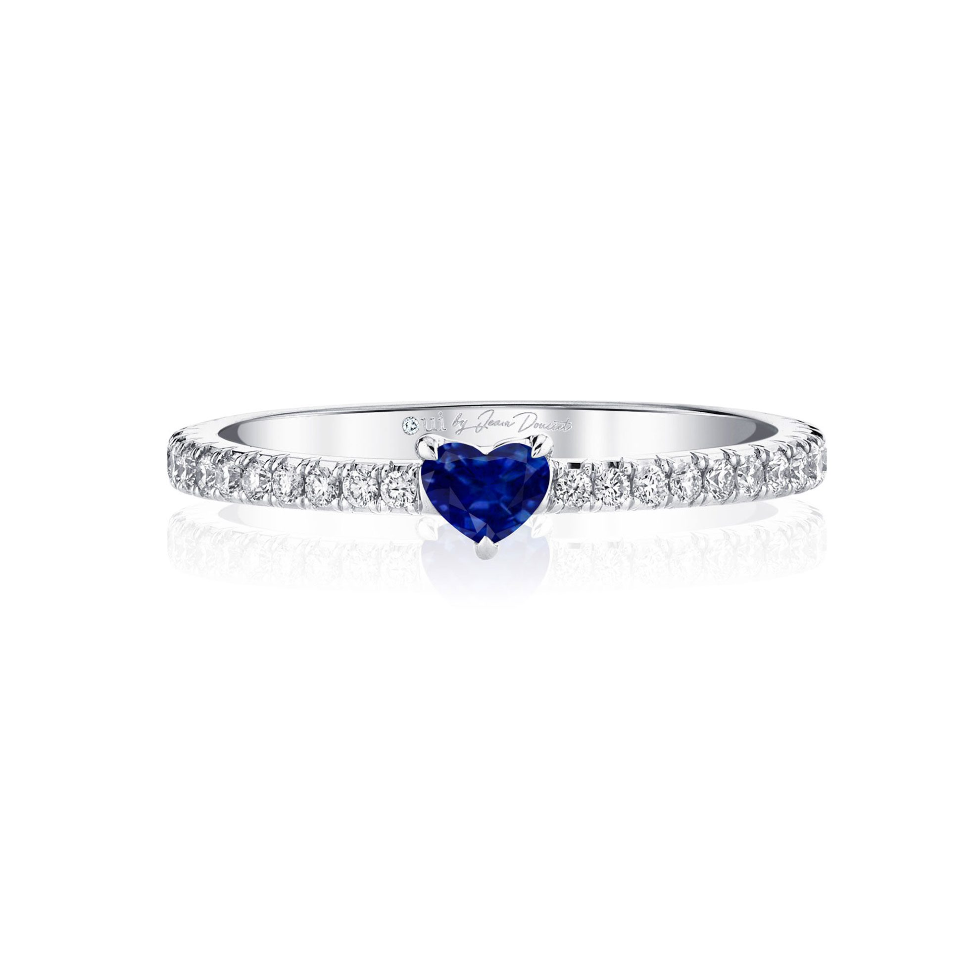 La Petite Heart Blue Sapphire Ring diamond pavé band in 18k White Gold Front View by Oui by Jean Dousset