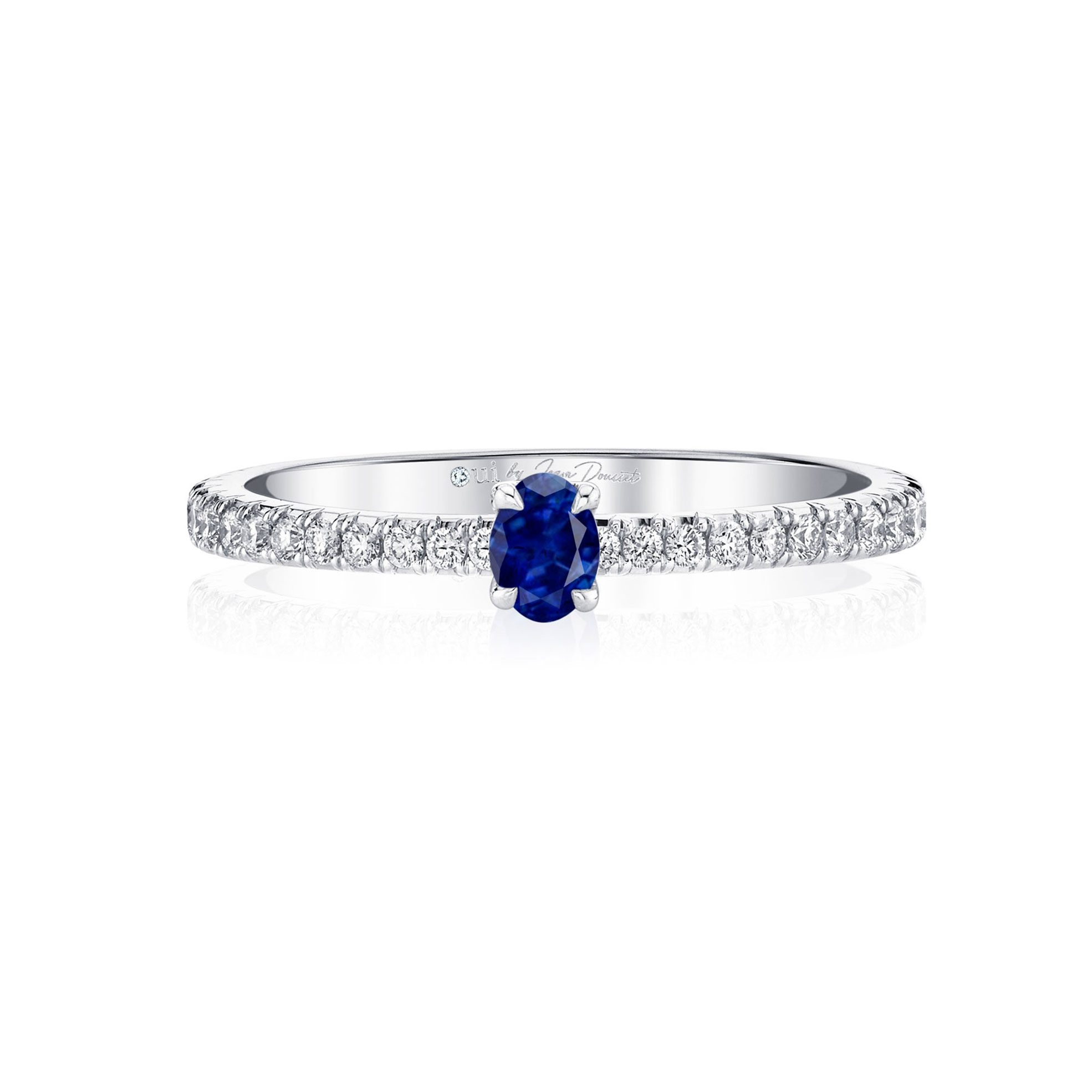 La Petite Oval Blue Sapphire Ring diamond pavé band in 18k White Gold Front View by Oui by Jean Dousset