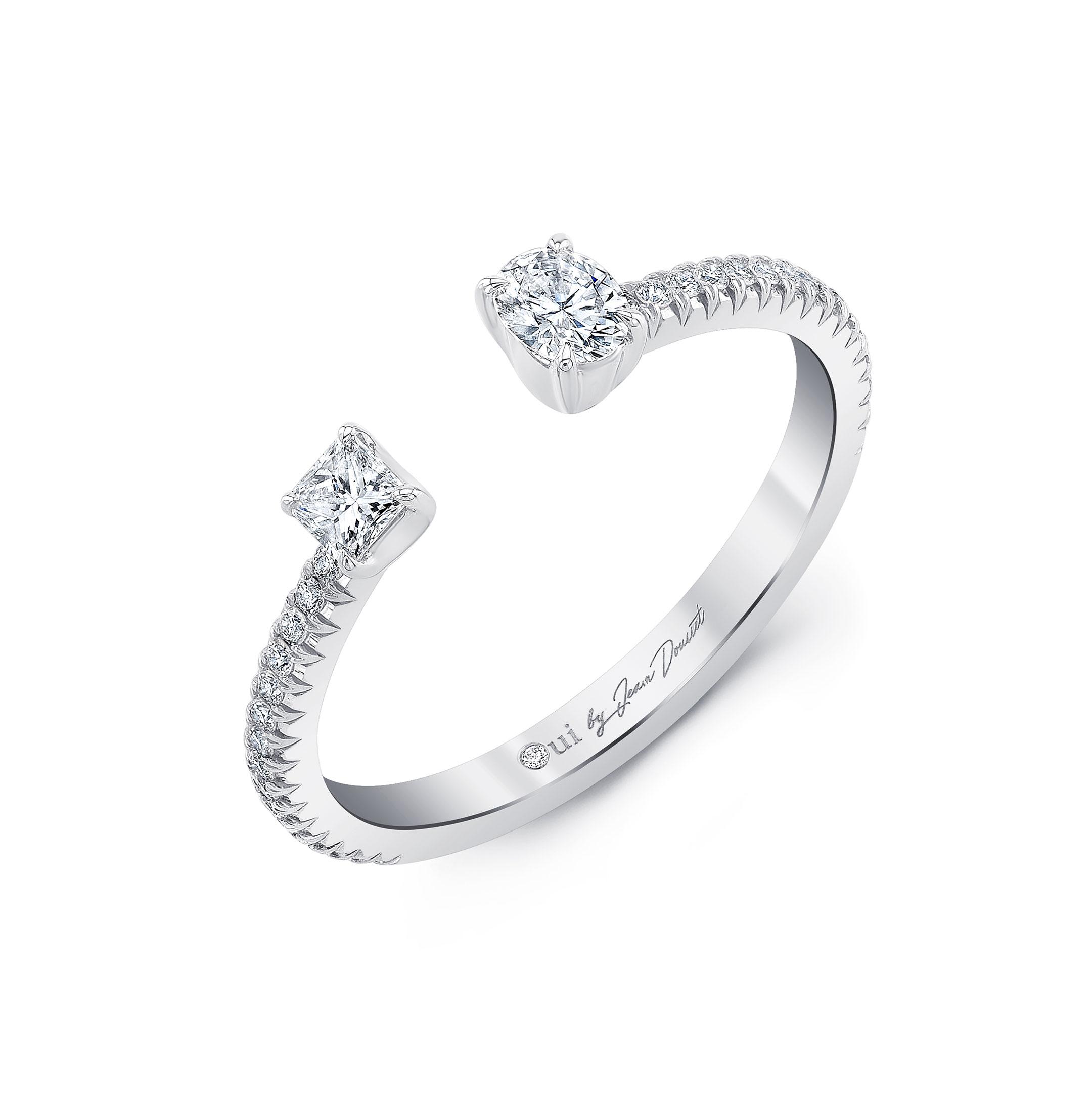 Celeste Mixed Diamond Open Pavé Ring, oval & princess in 18k White Gold Profile View by Oui by Jean Dousset