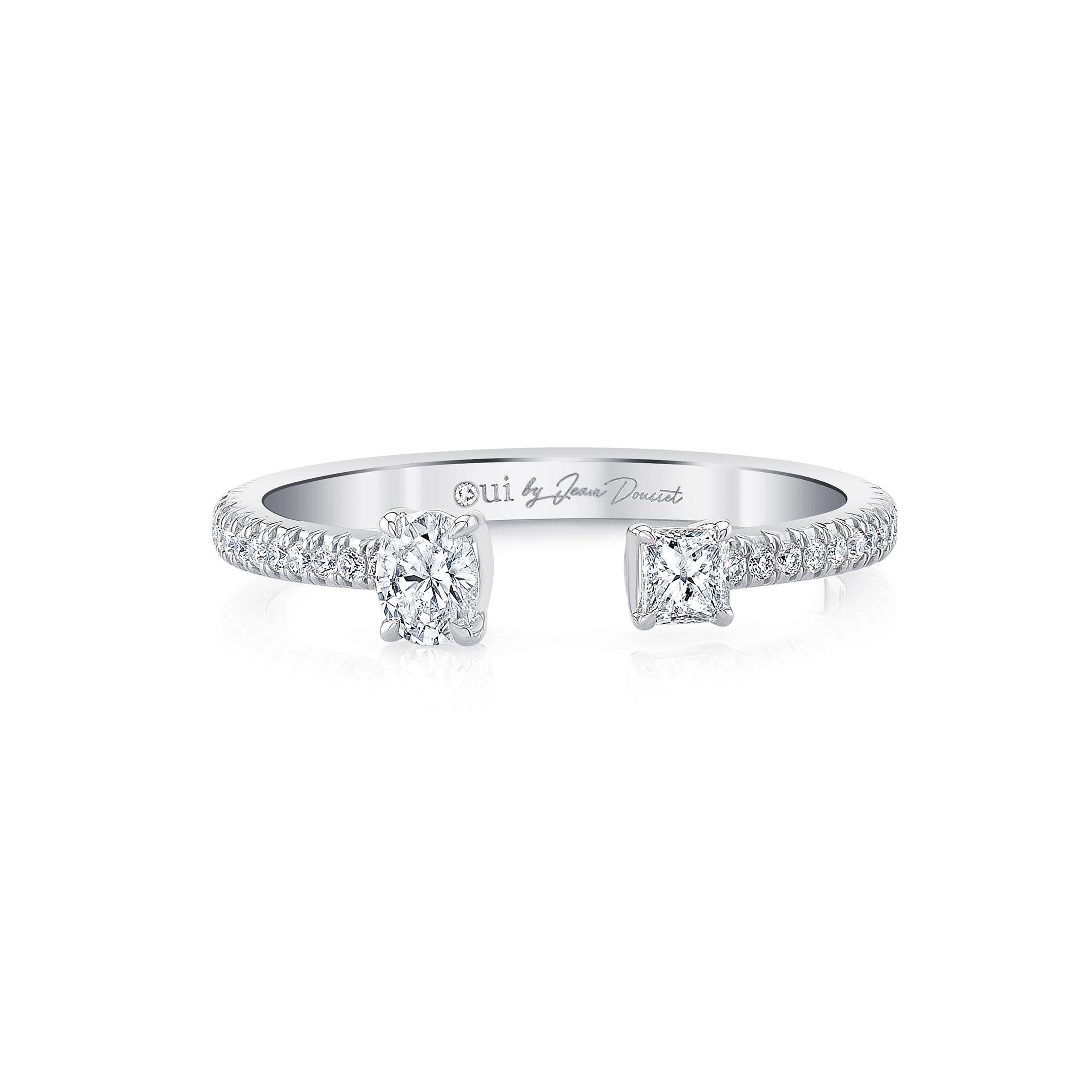 Celeste Mixed Diamond Open Pavé Ring, oval & princess in 18k White Gold Front View by Oui by Jean Dousset
