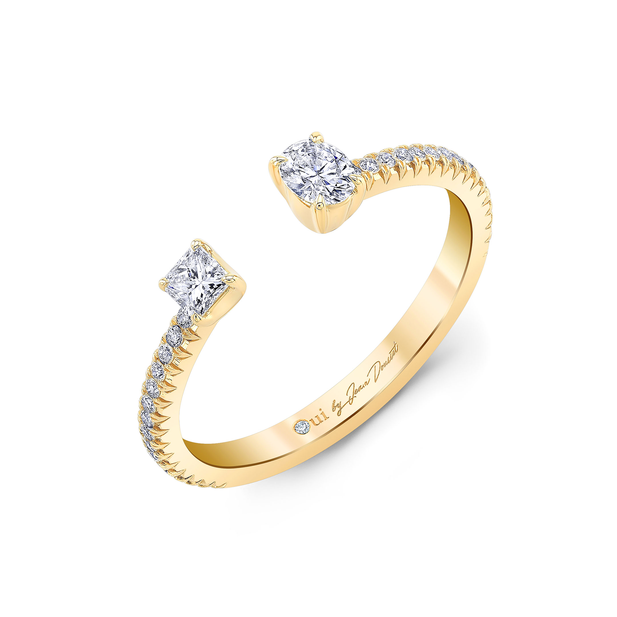 Celeste Mixed Diamond Open Pavé Ring, oval & princess in 18k Yellow Gold Profile View by Oui by Jean Dousset
