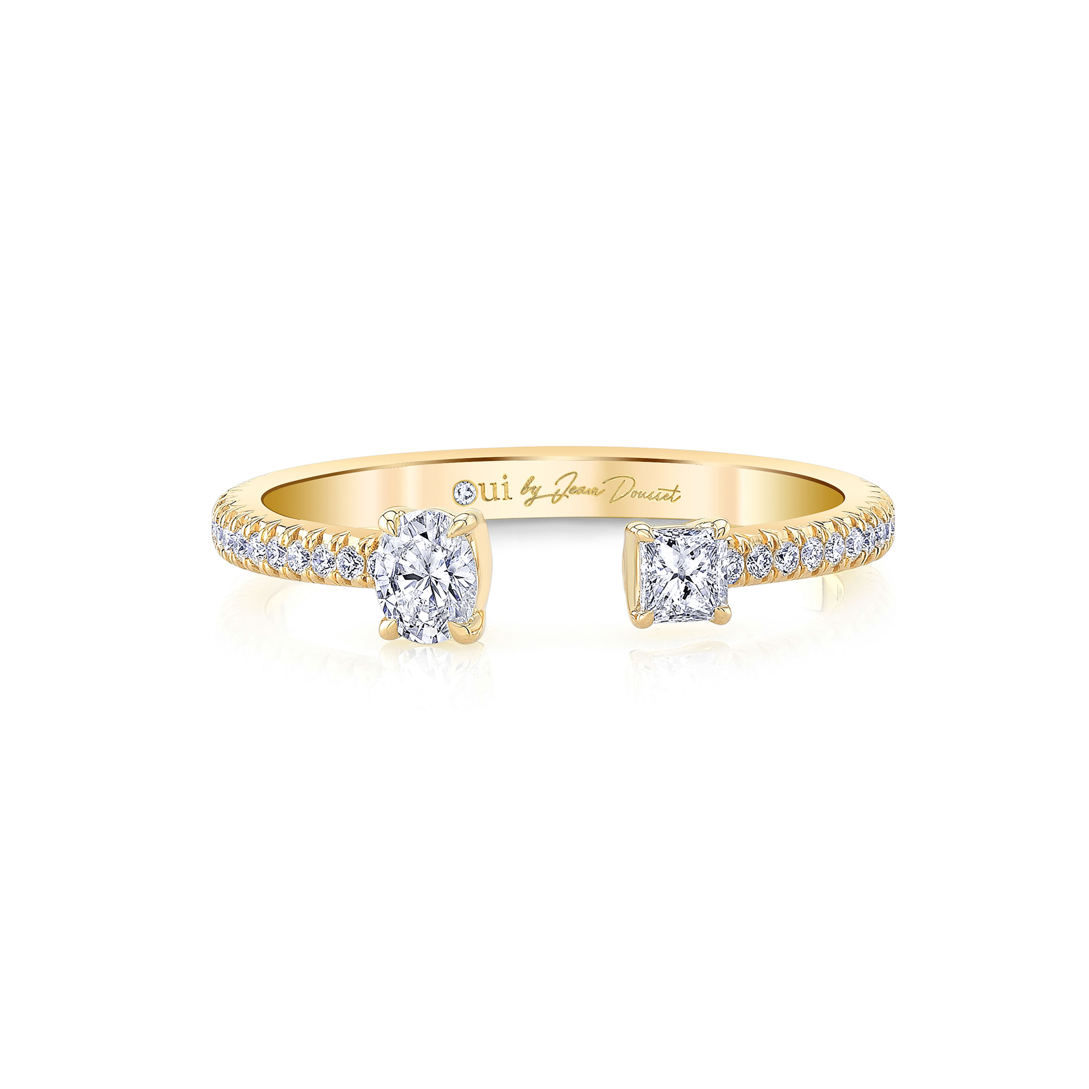 Celeste Mixed Diamond Open Pavé Ring, oval & princess in 18k Yellow Gold Front View by Oui by Jean Dousset
