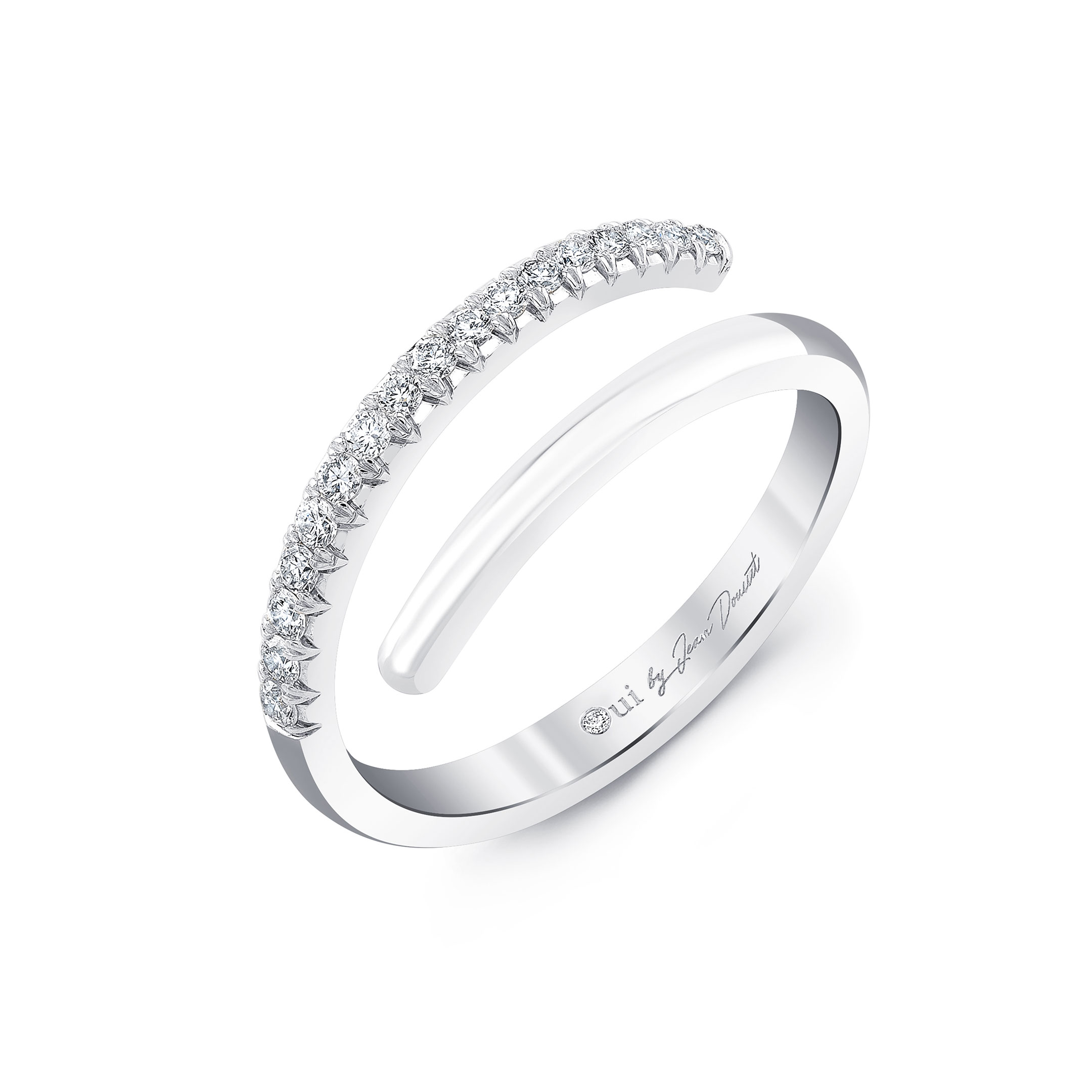 Half Diamond Pavé Wrap Ring in 18k White Gold Profile View by Oui by Jean Dousset