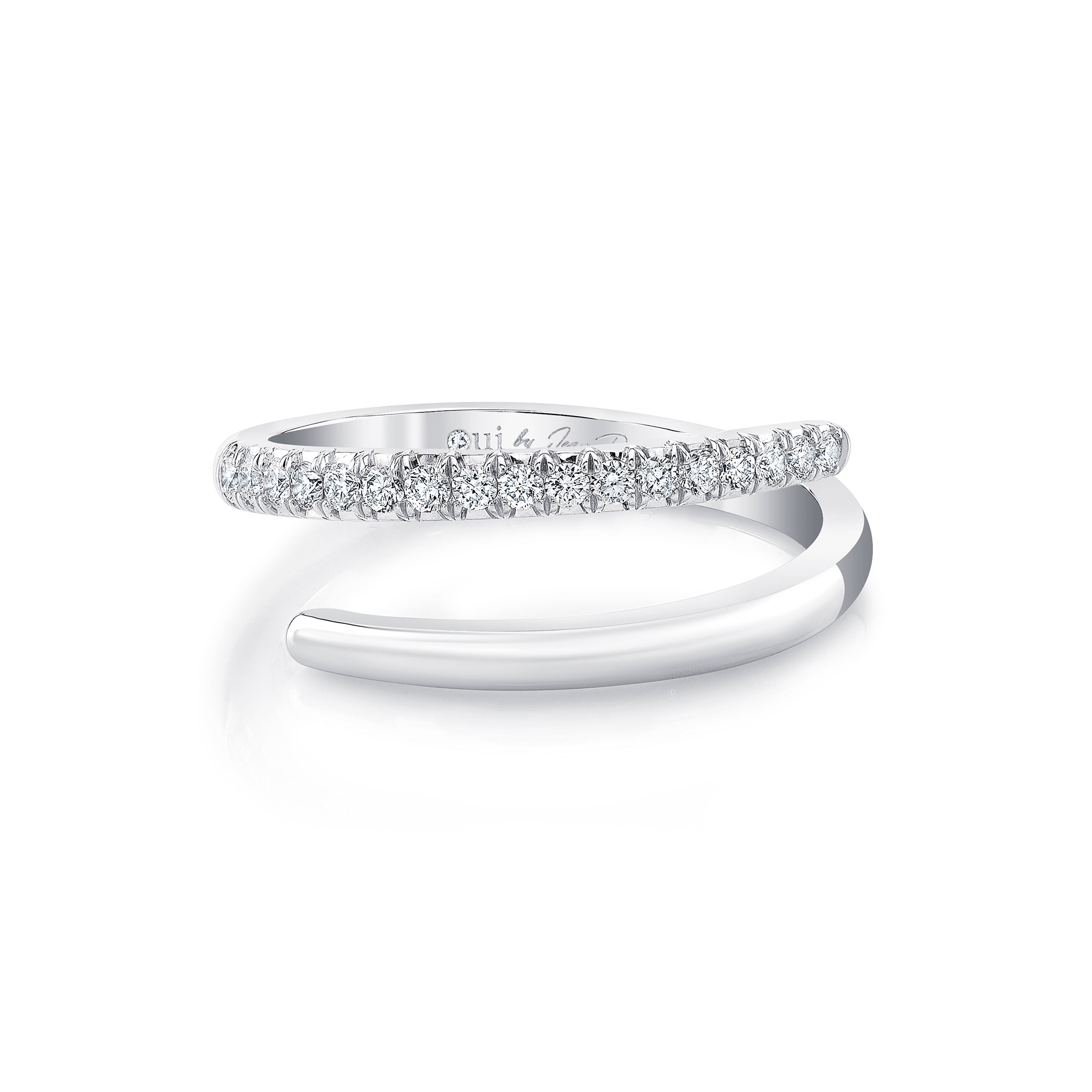 Half Diamond Pavé Wrap Ring in 18k White Gold Front View by Oui by Jean Dousset