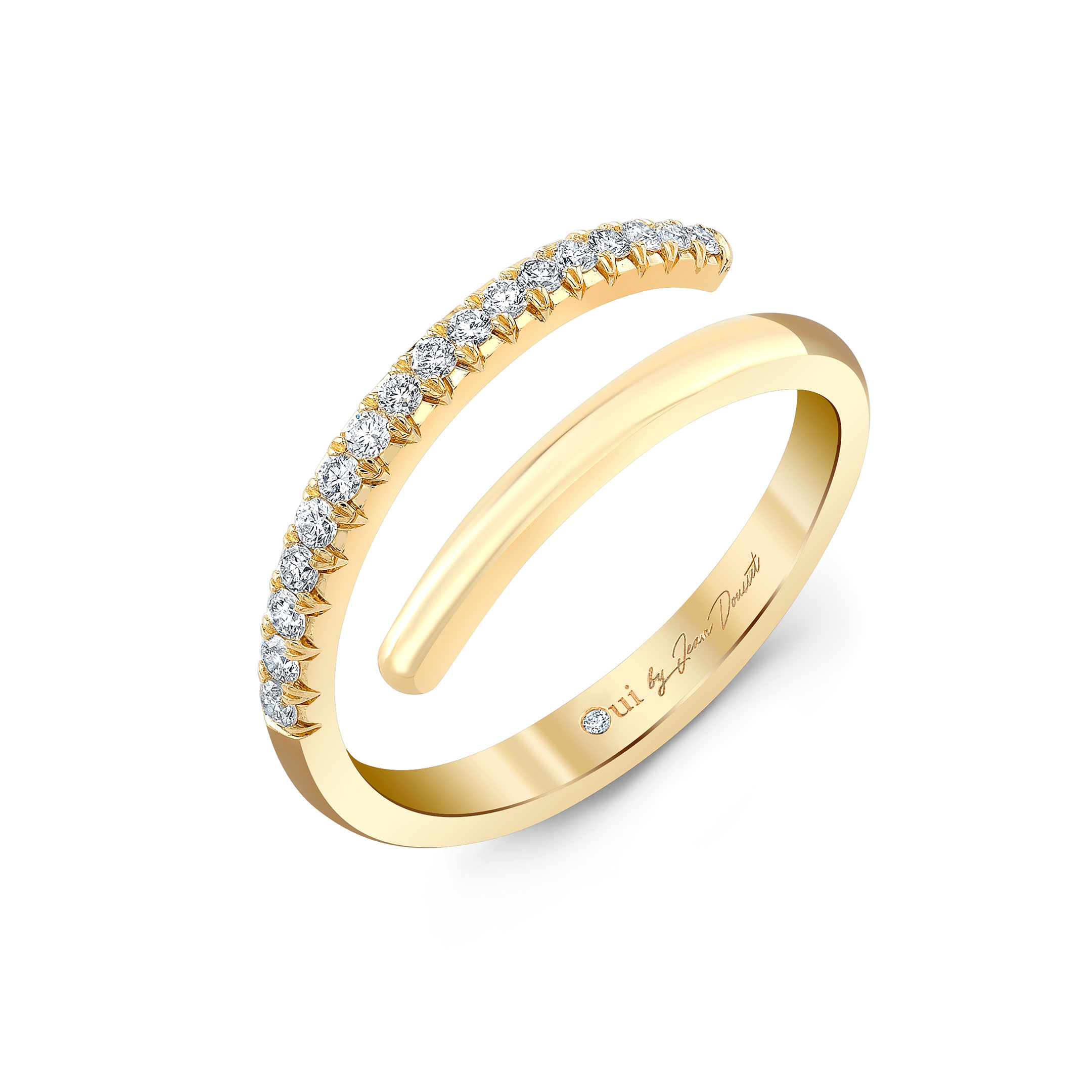 Half Diamond Pavé Wrap Ring in 18k Yellow Gold Profile View by Oui by Jean Dousset