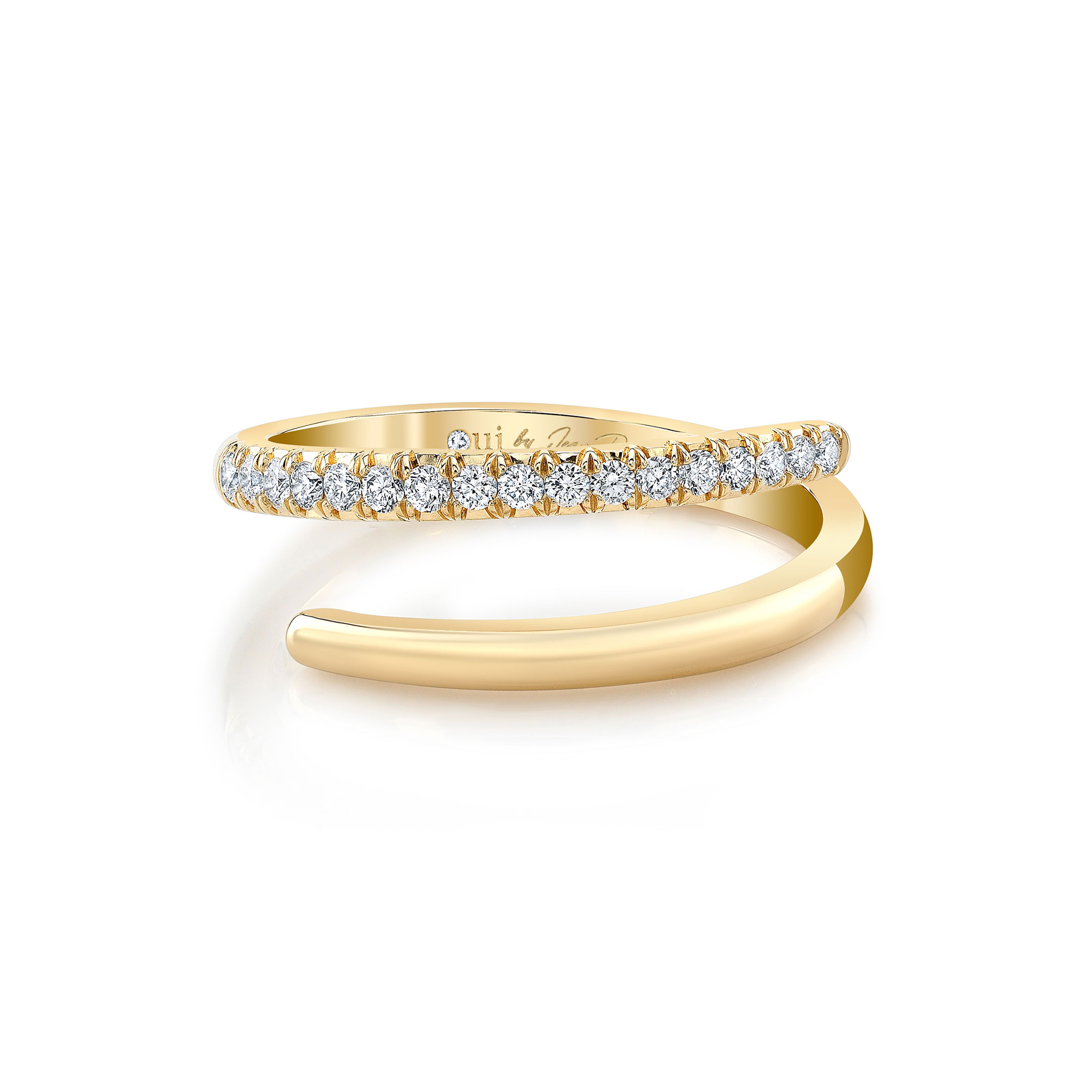 Half Diamond Pavé Wrap Ring in 18k Yellow Gold Front View by Oui by Jean Dousset