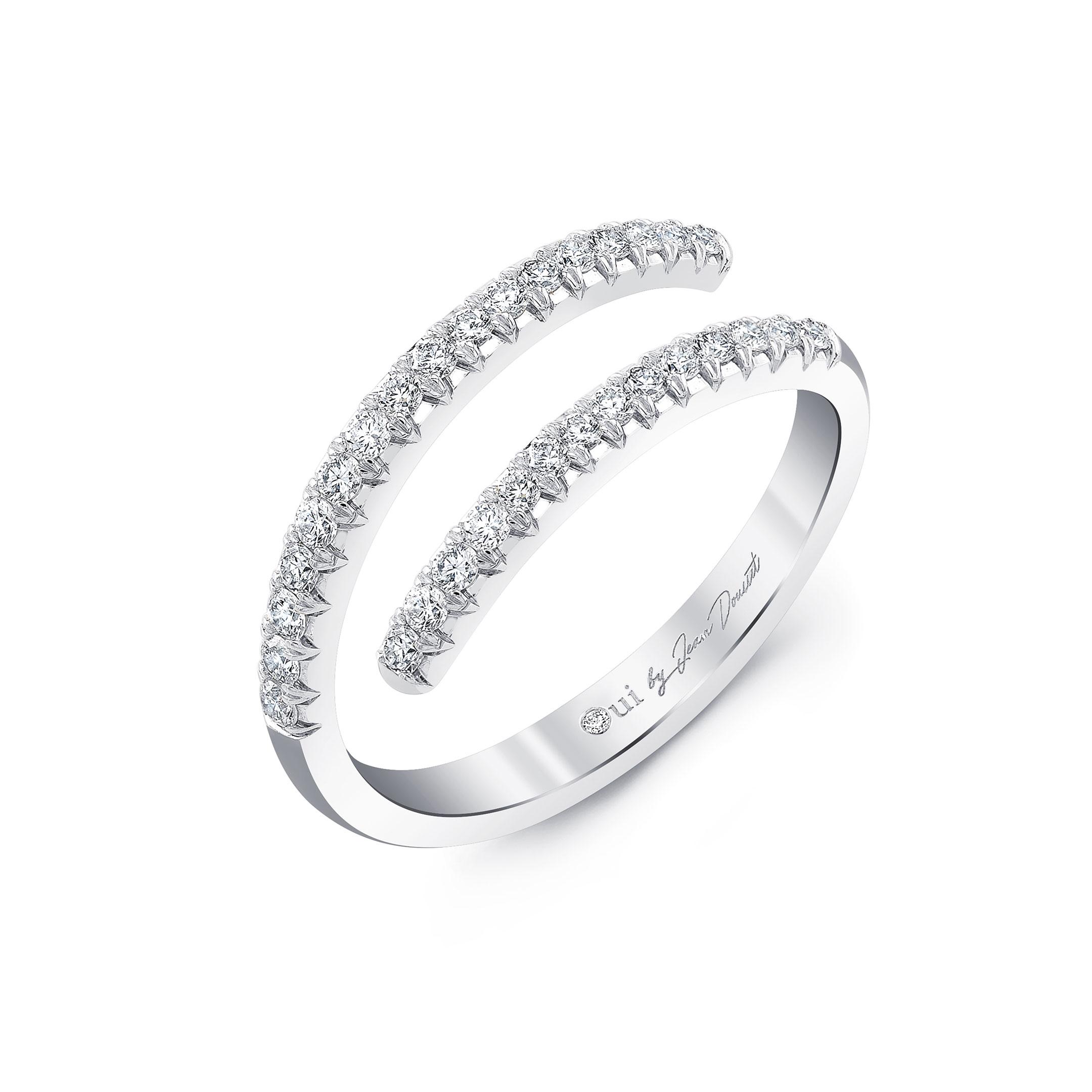 Diamond Pavé Wrap Ring in 18k White Gold Profile View by Oui by Jean Dousset