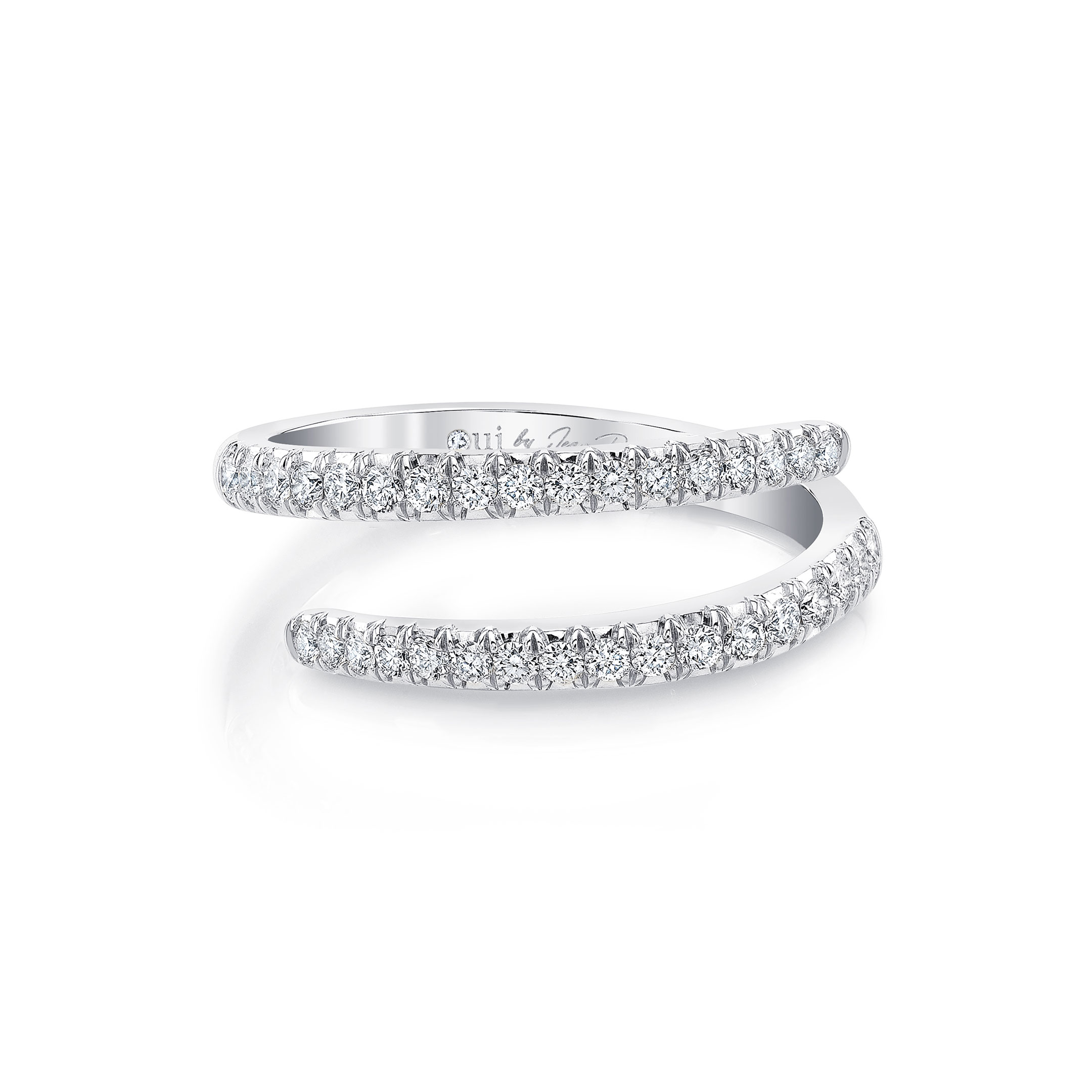 Diamond Pavé Wrap Ring in 18k White Gold Front View by Oui by Jean Dousset