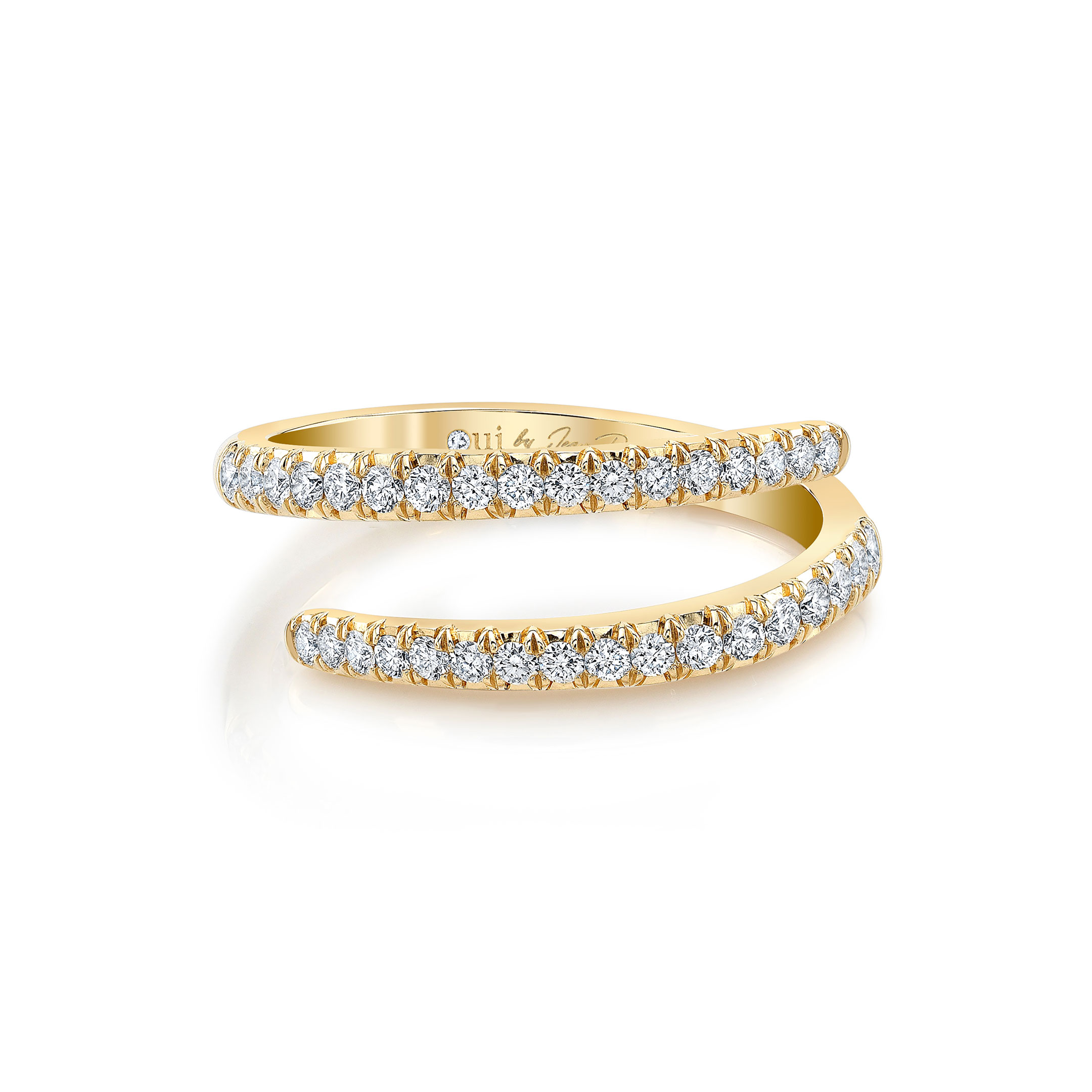 Diamond Pavé Wrap Ring in 18k Yellow Gold Front View by Oui by Jean Dousset