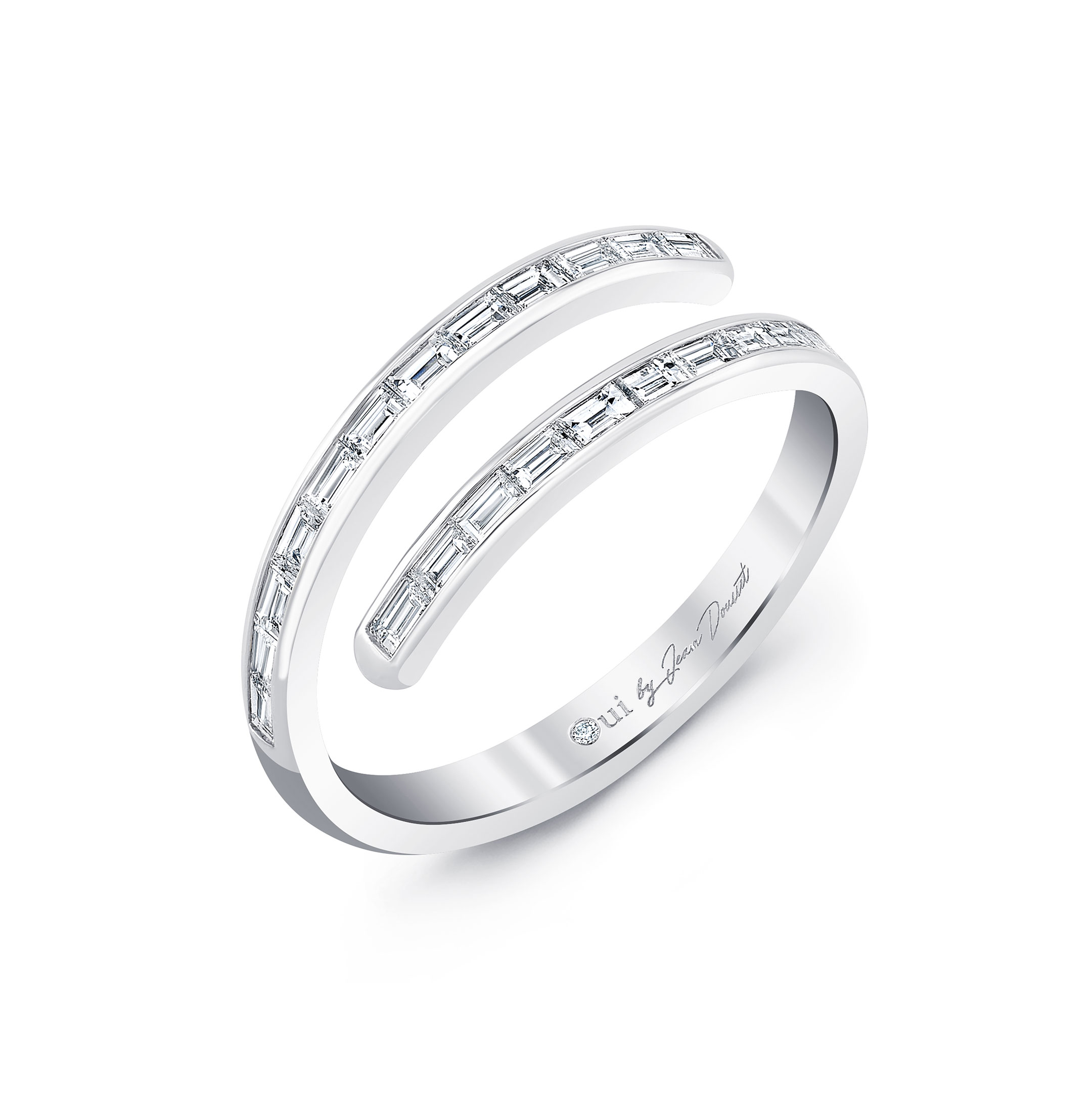 Baguette Bezel Diamond Pavé Wrap Ring in 18k White Gold Profile View by Oui by Jean Dousset