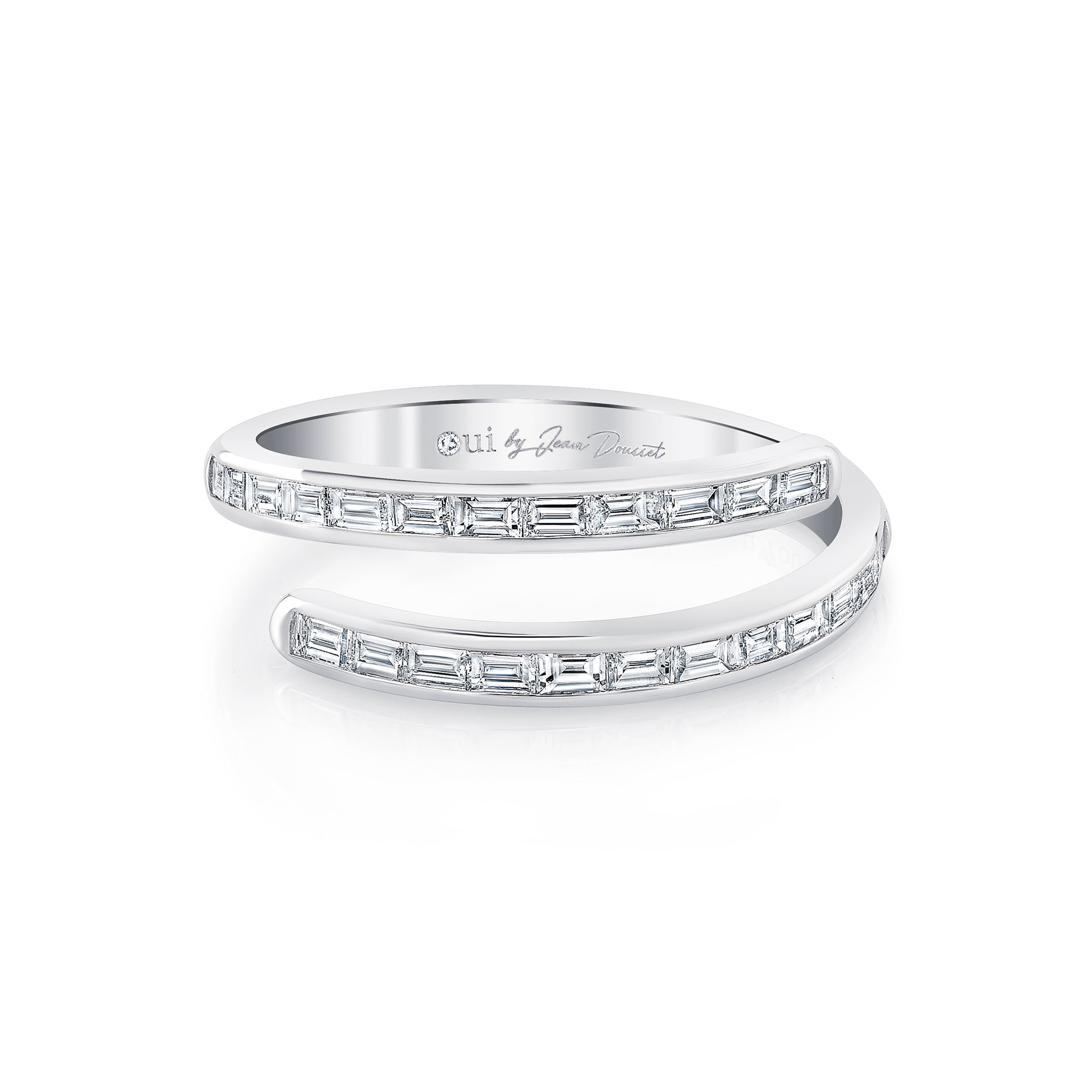 Baguette Bezel Diamond Pavé Wrap Ring in 18k White Gold Front View by Oui by Jean Dousset