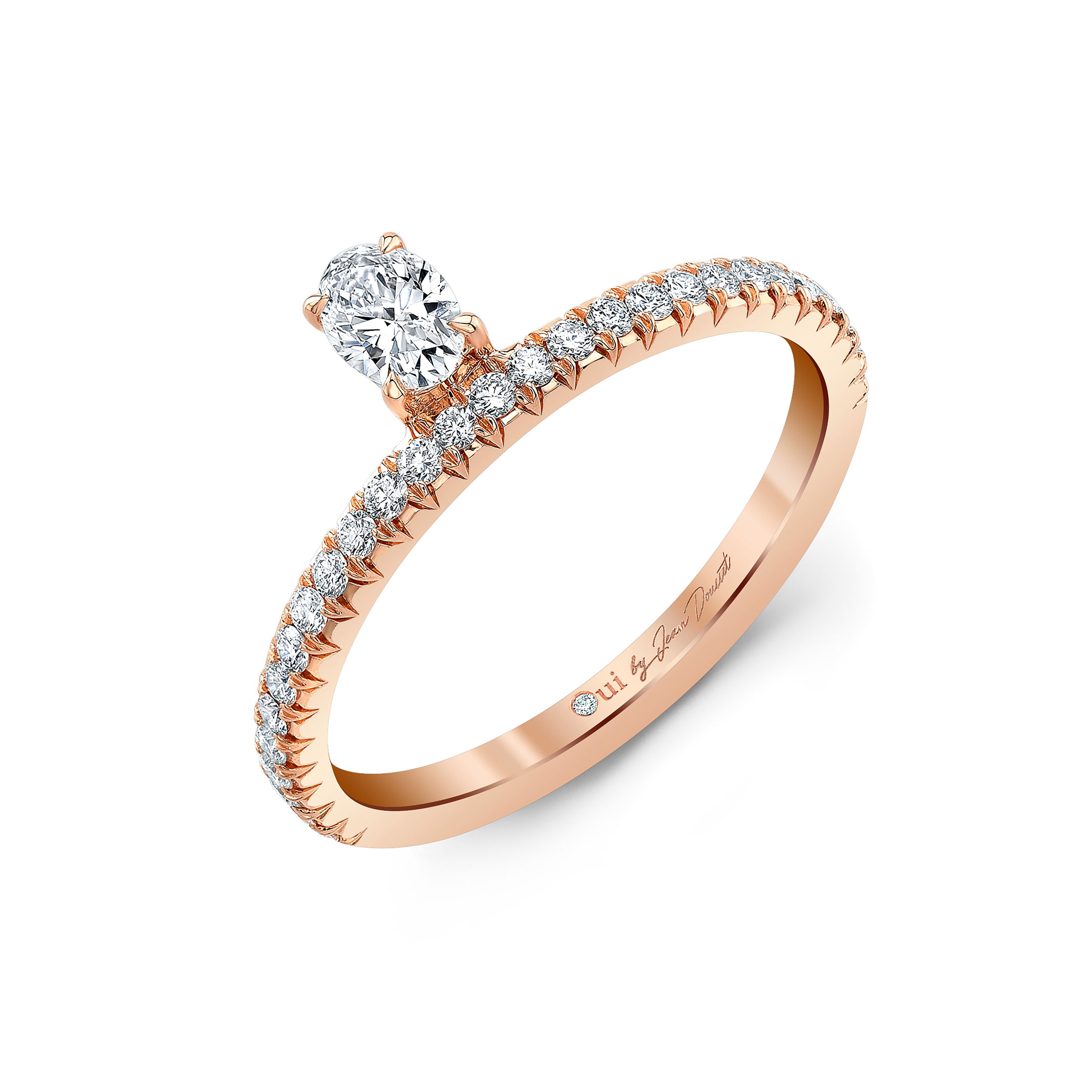Eloise Floating Oval Diamond Ring in 18k Rose Gold Profile View by Oui by Jean Dousset