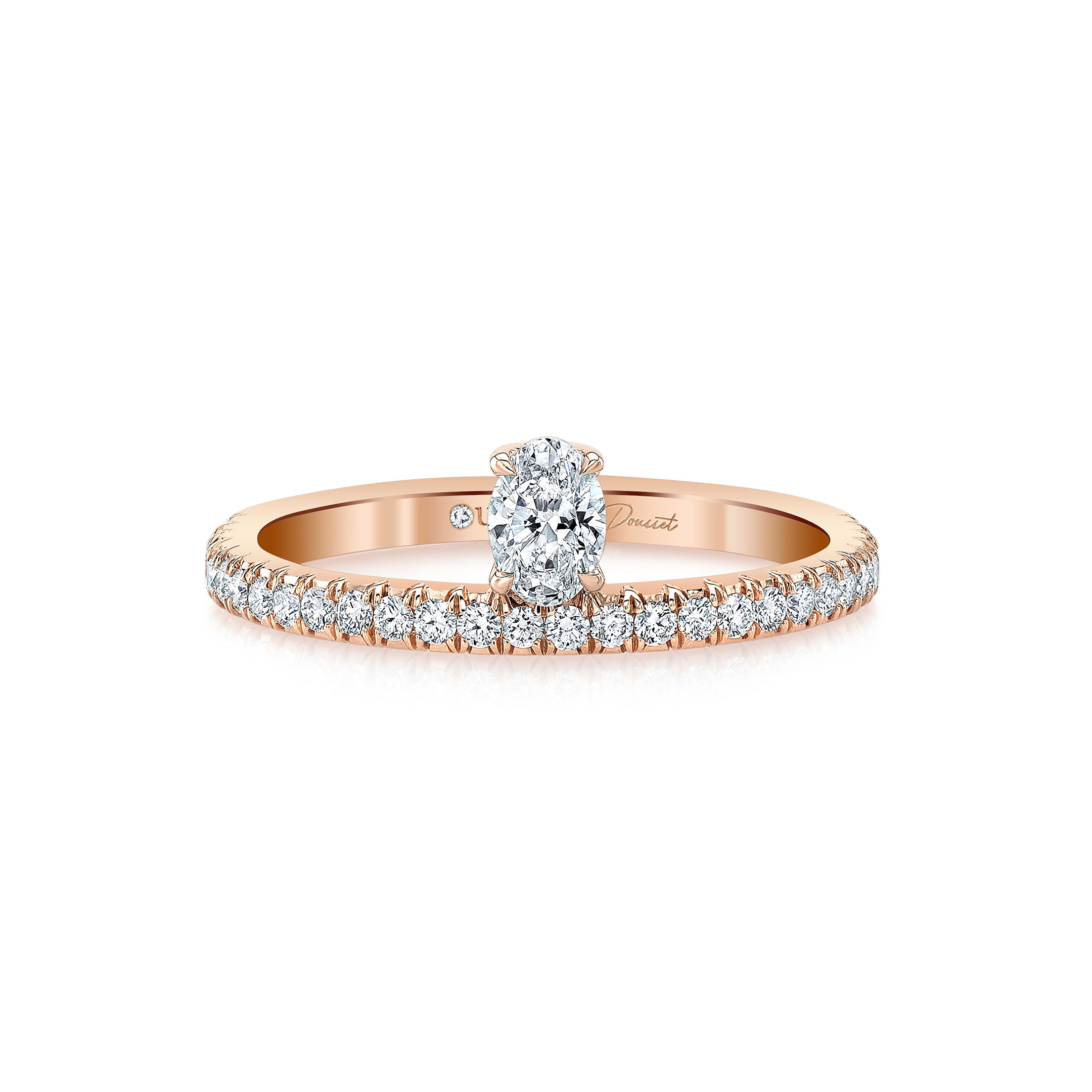 Eloise Floating Oval Diamond Ring in 18k Rose Gold Front View by Oui by Jean Dousset