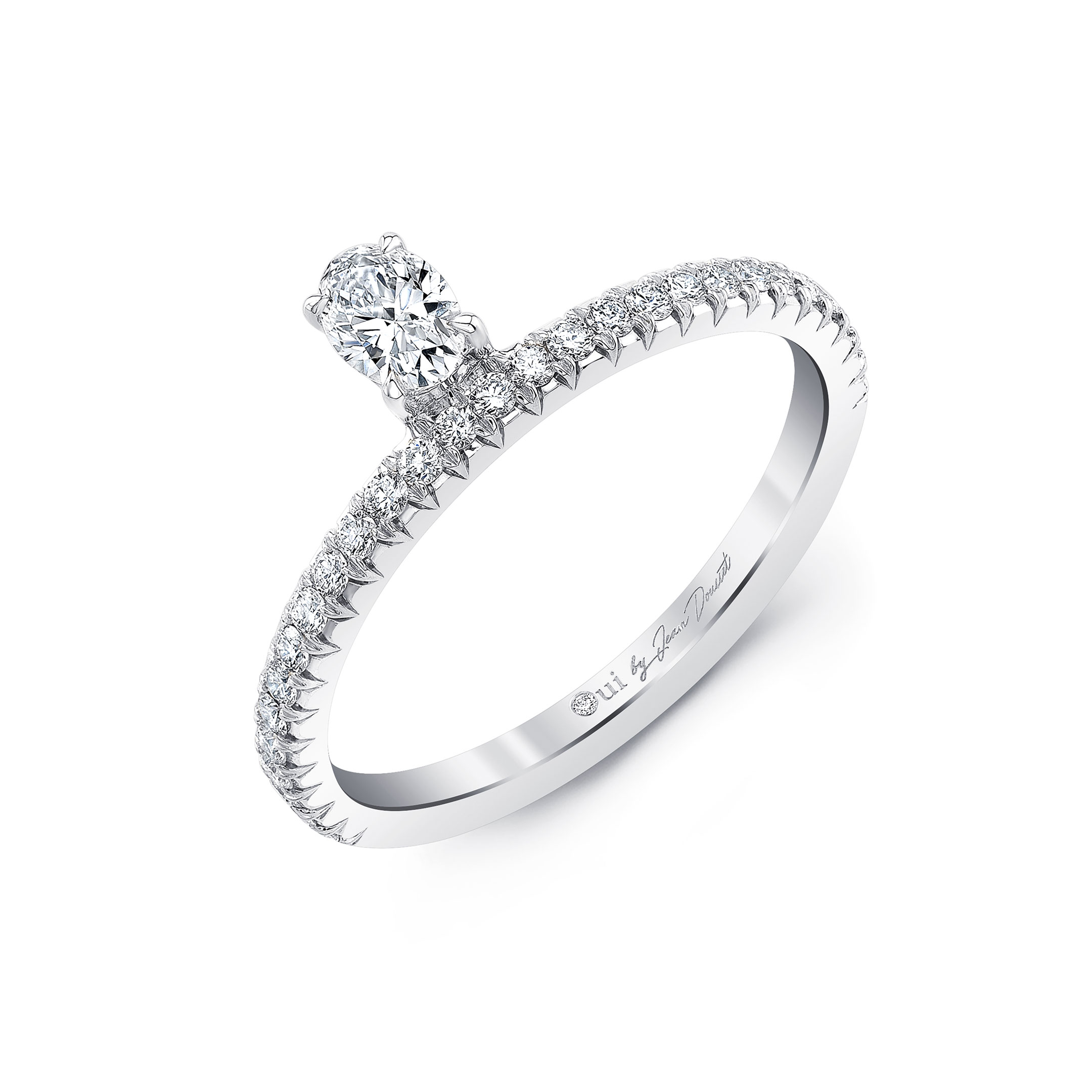 Eloise Floating Oval Diamond Ring in 18k White Gold Profile View by Oui by Jean Dousset