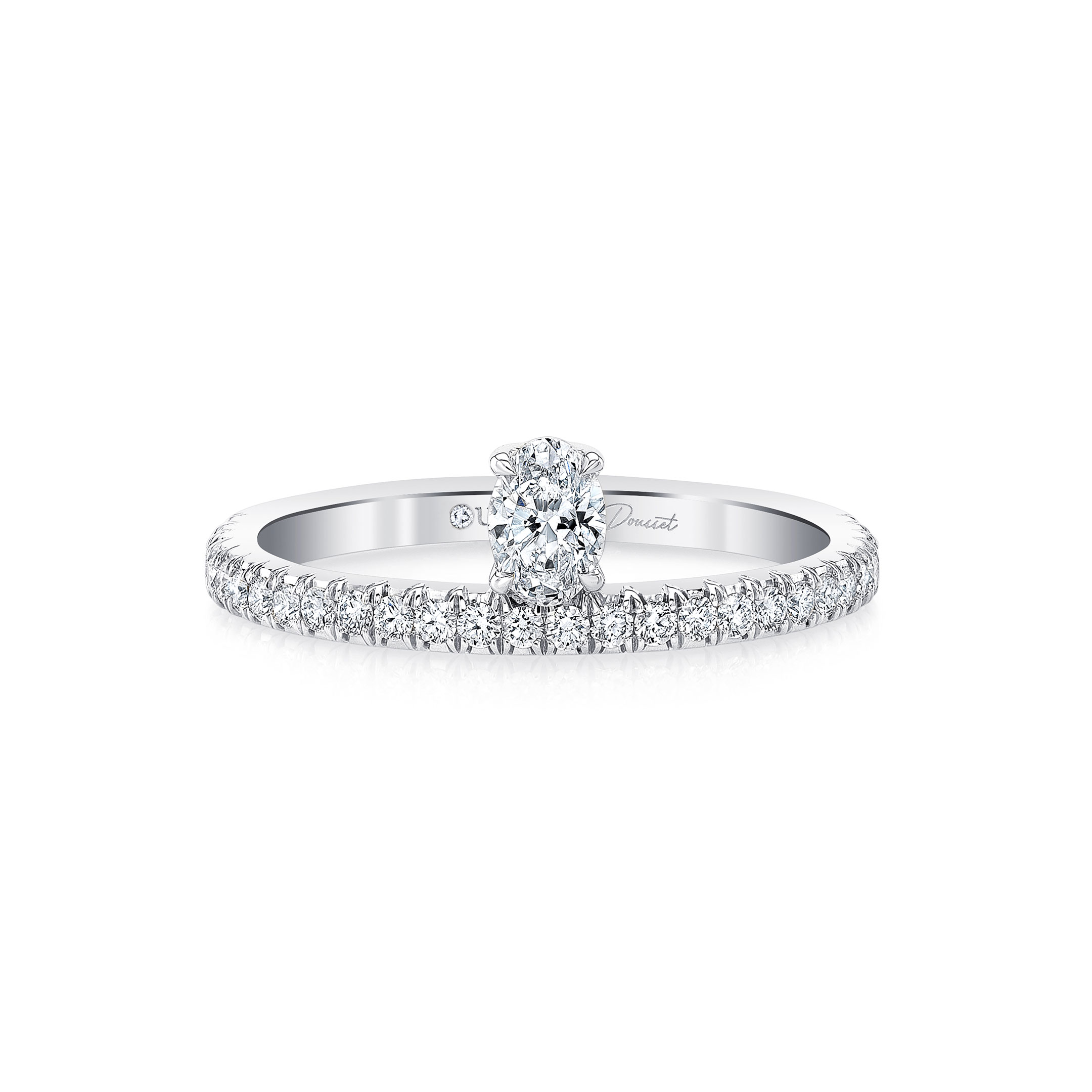 Eloise Floating Oval Diamond Ring in 18k White Gold Front View by Oui by Jean Dousset