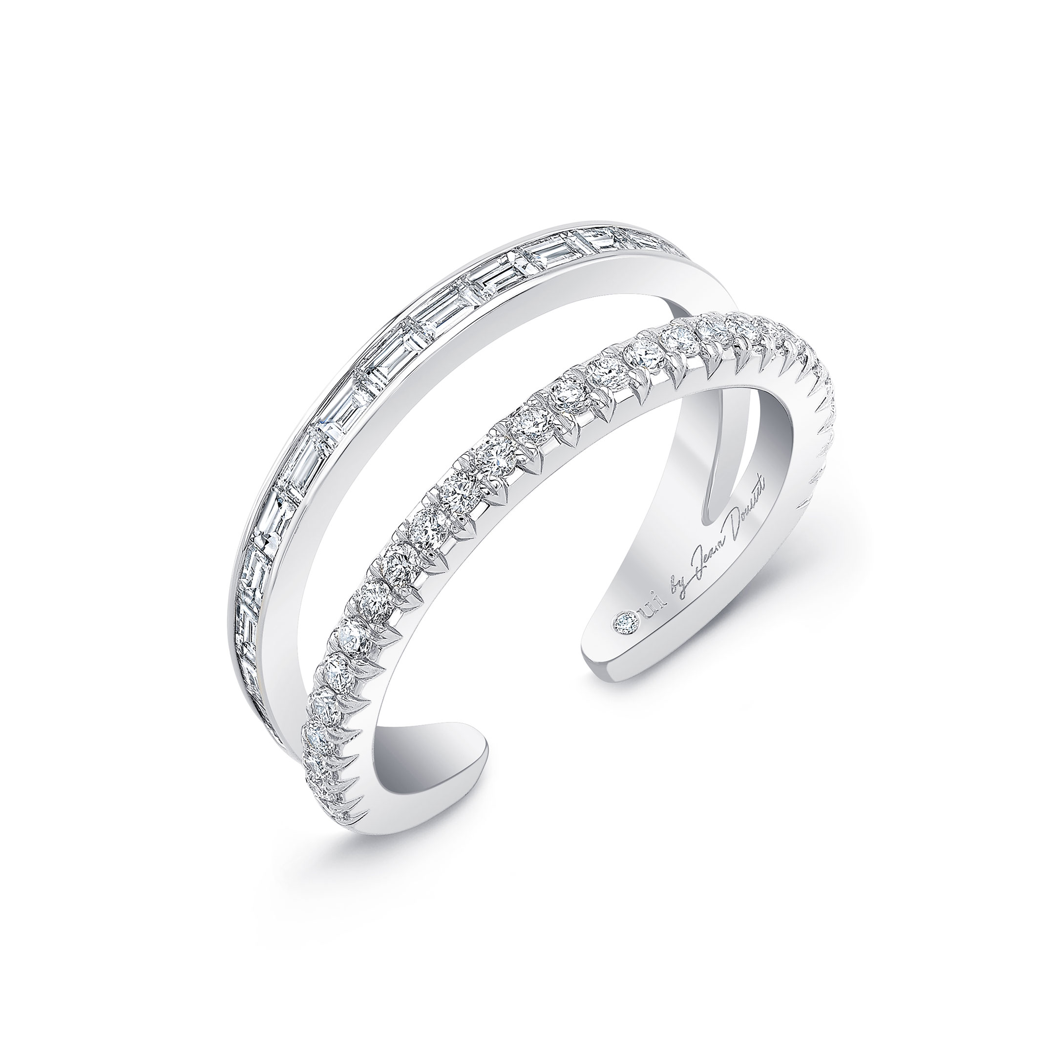 Baguette and Diamond Pavé Double Band Ring in 18k White Gold Profile View by Oui by Jean Dousset