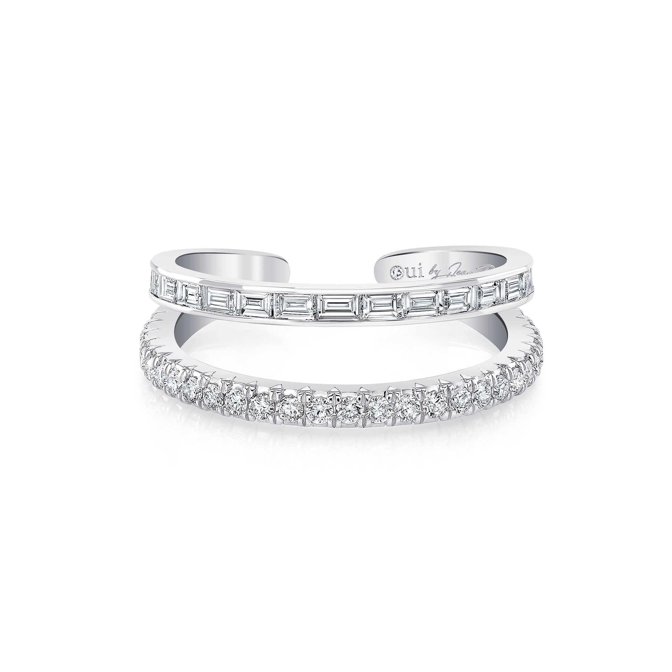 Baguette and Diamond Pavé Double Band Ring in 18k White Gold Front View by Oui by Jean Dousset