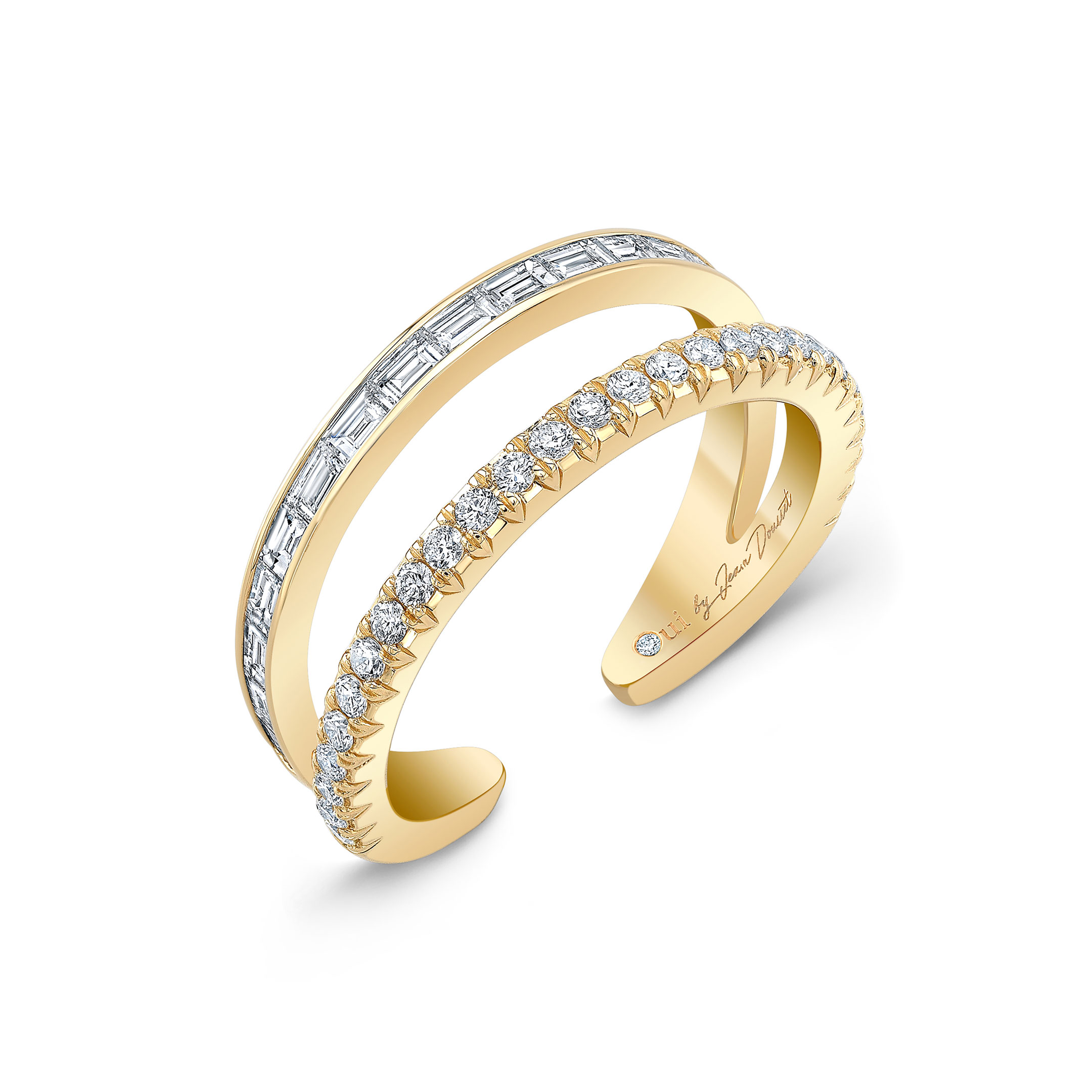 Baguette and Diamond Pavé Double Band Ring in 18k Yellow Gold Profile View by Oui by Jean Dousset