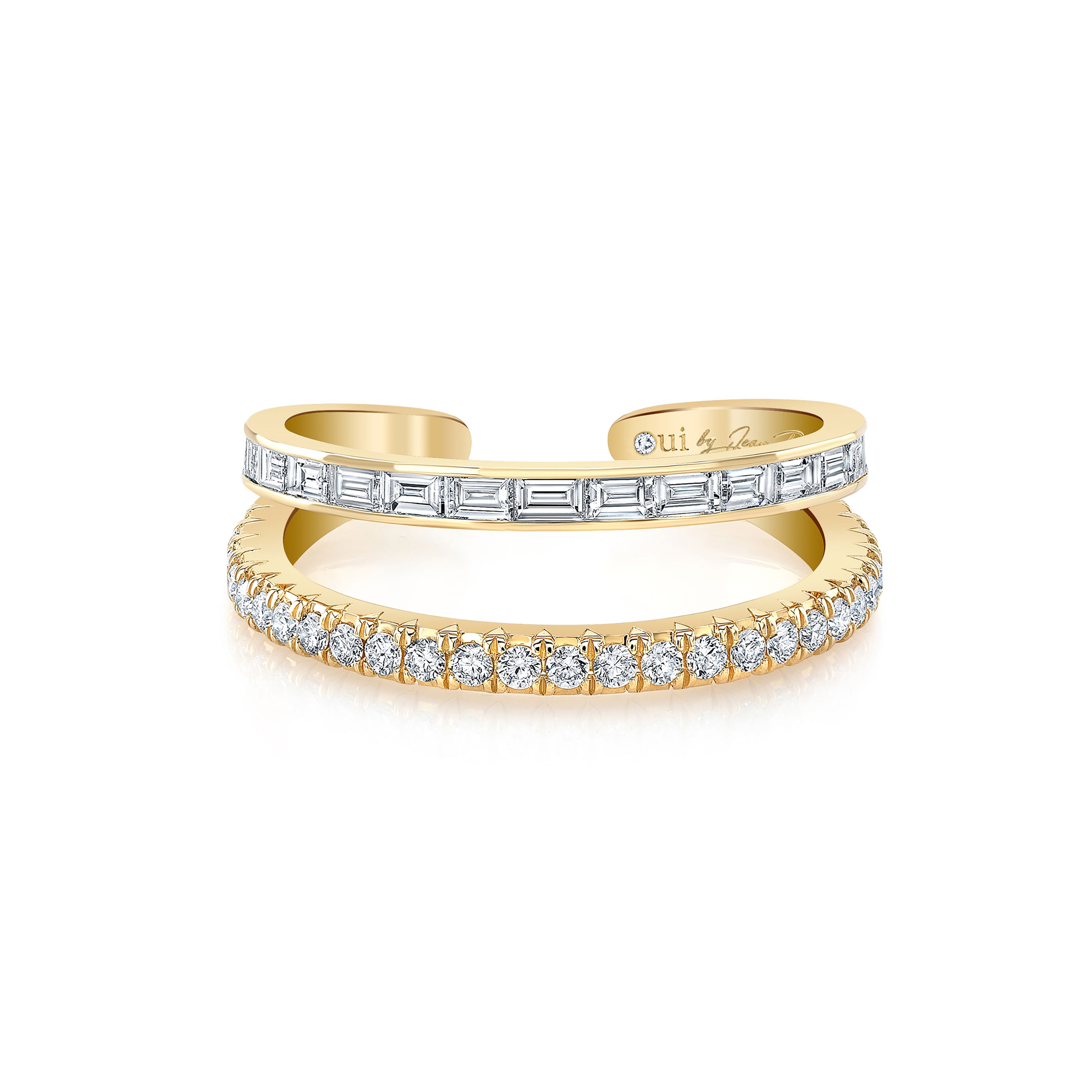 Baguette and Diamond Pavé Double Band Ring in 18k Yellow Gold Front View by Oui by Jean Dousset