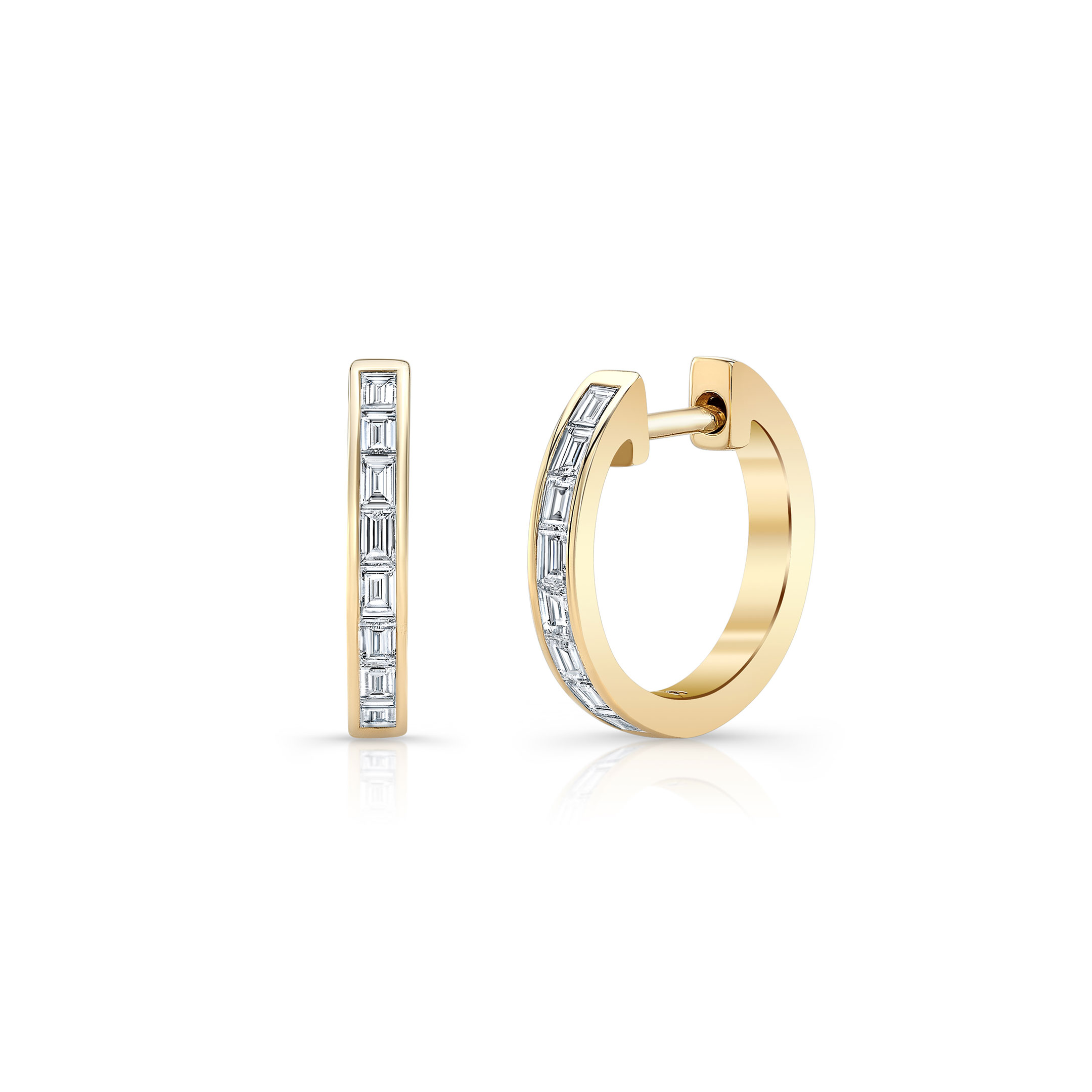 Eloise Mini Baguette Diamond Huggie Earrings in 18k Yellow Gold Front View by Oui by Jean Dousset