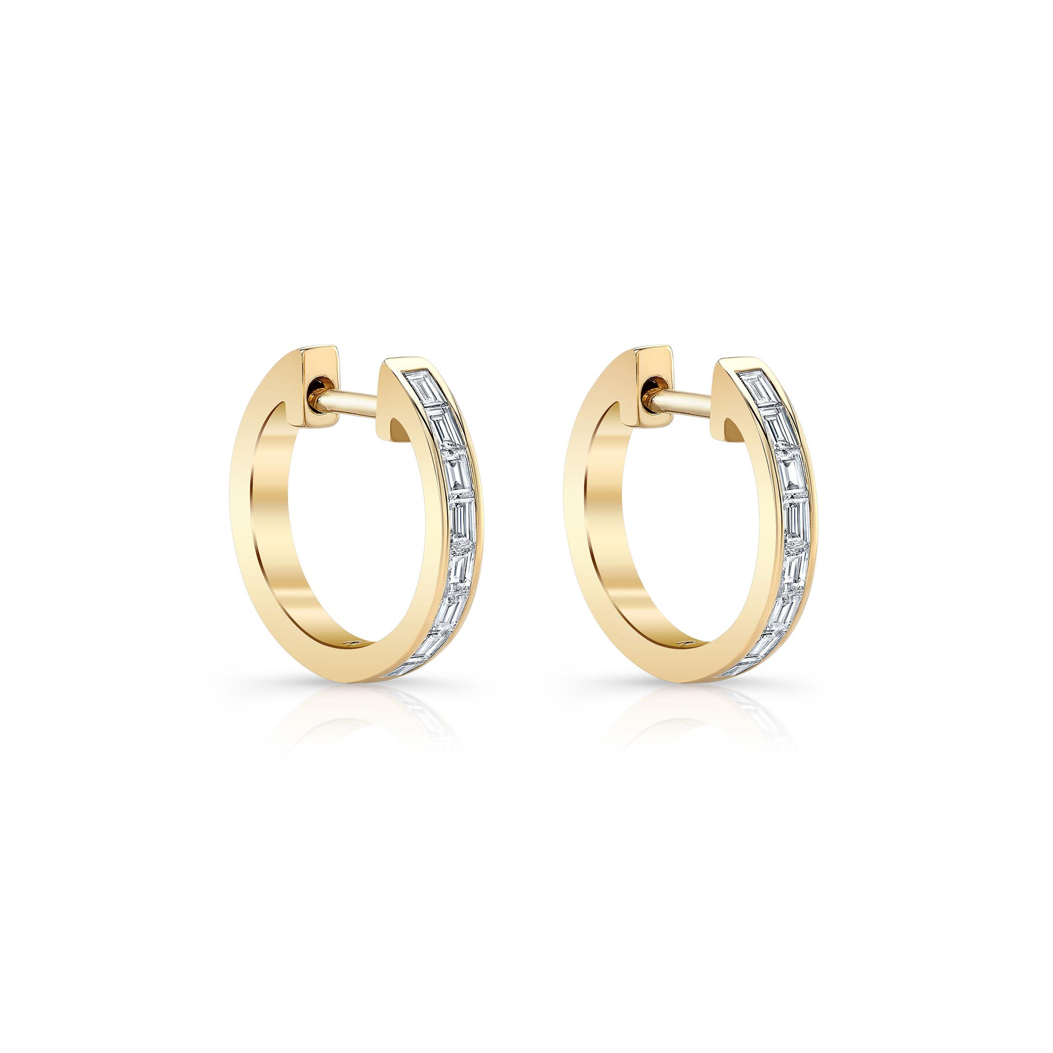 Eloise Mini Baguette Diamond Huggie Earrings in 18k Yellow Gold Side View by Oui by Jean Dousset