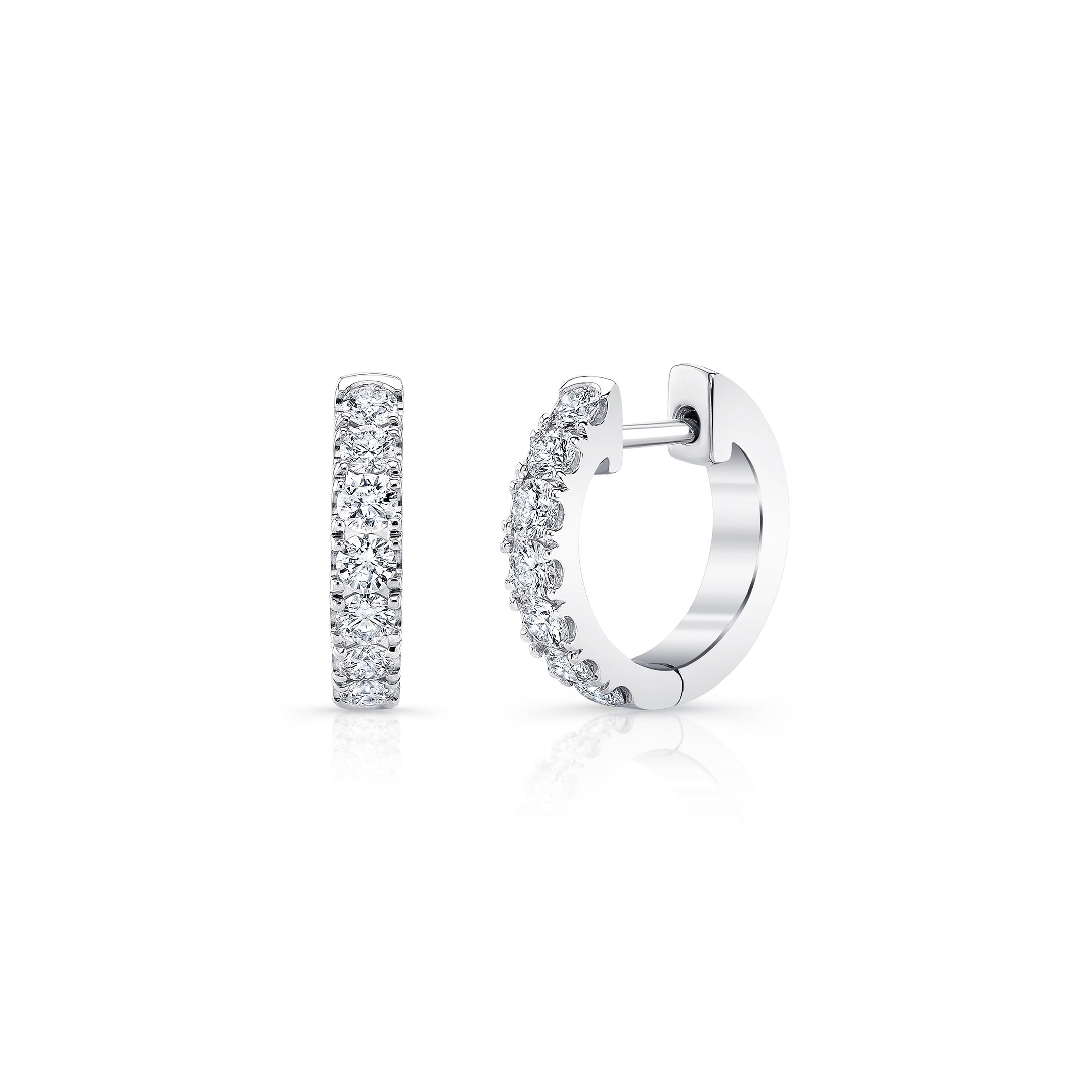 Eloise Mini Round Brilliant Diamond Huggie Earrings in 18k White Gold Front View by Oui by Jean Dousset