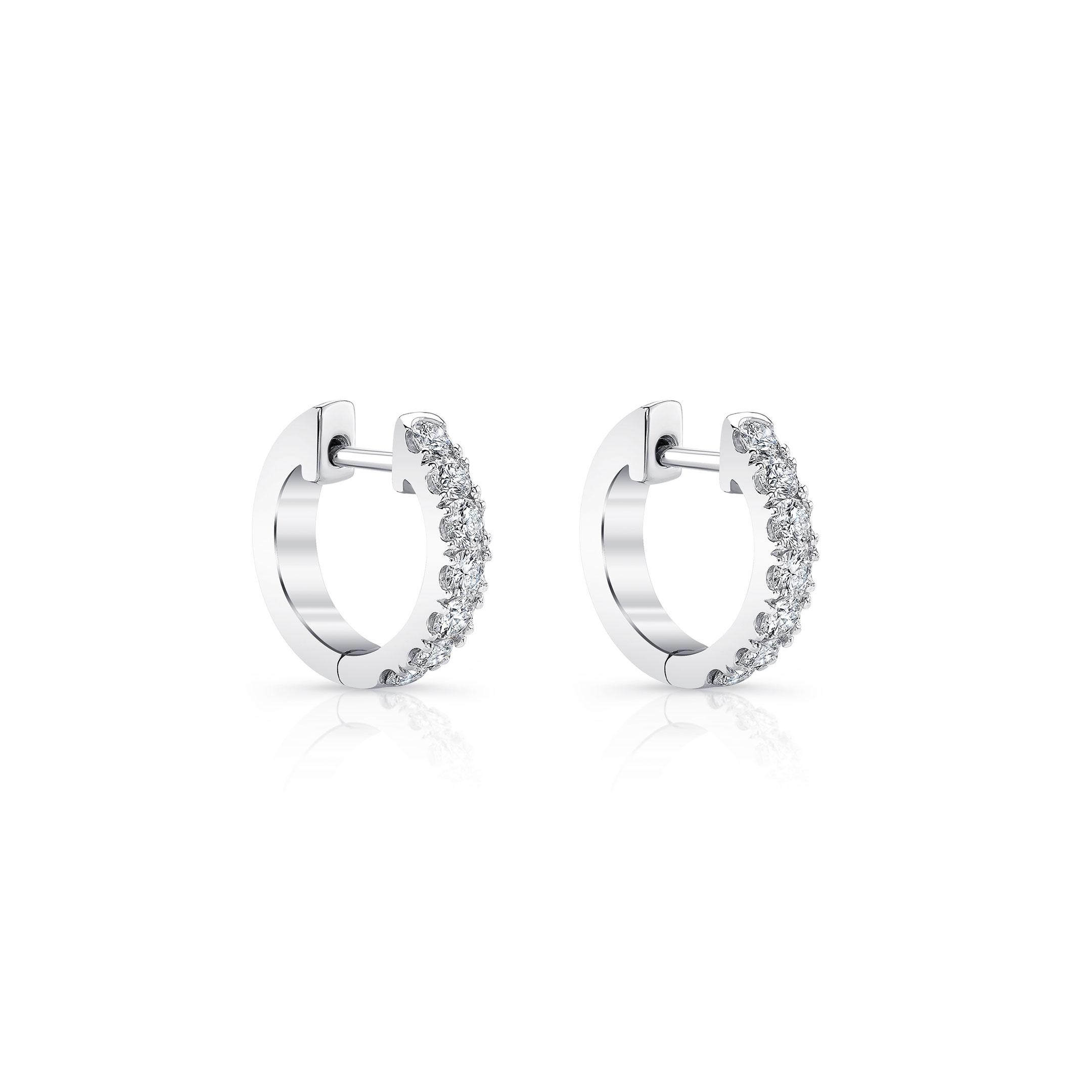 Eloise Mini Round Brilliant Diamond Huggie Earrings in 18k White Gold Side View by Oui by Jean Dousset