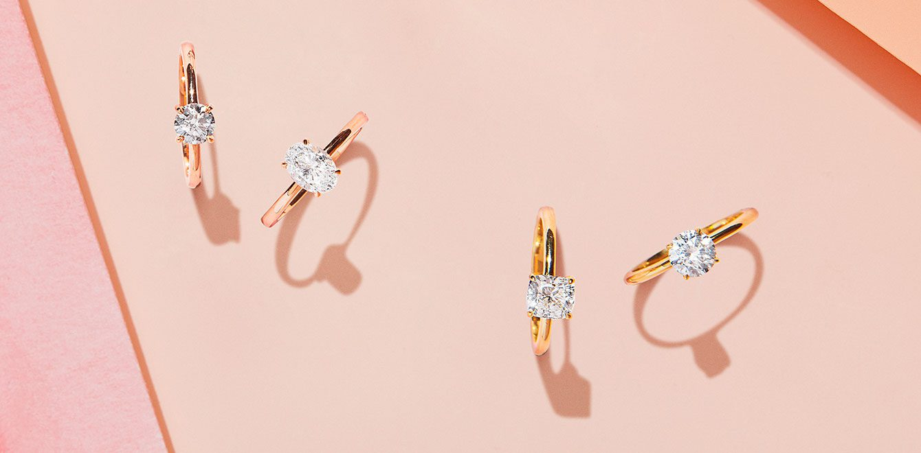 Solitaire Lab Grown Engagement Rings in Mixed Metals & CutsSolitaire Lab Grown Engagement Rings in Mixed Metals & Cuts