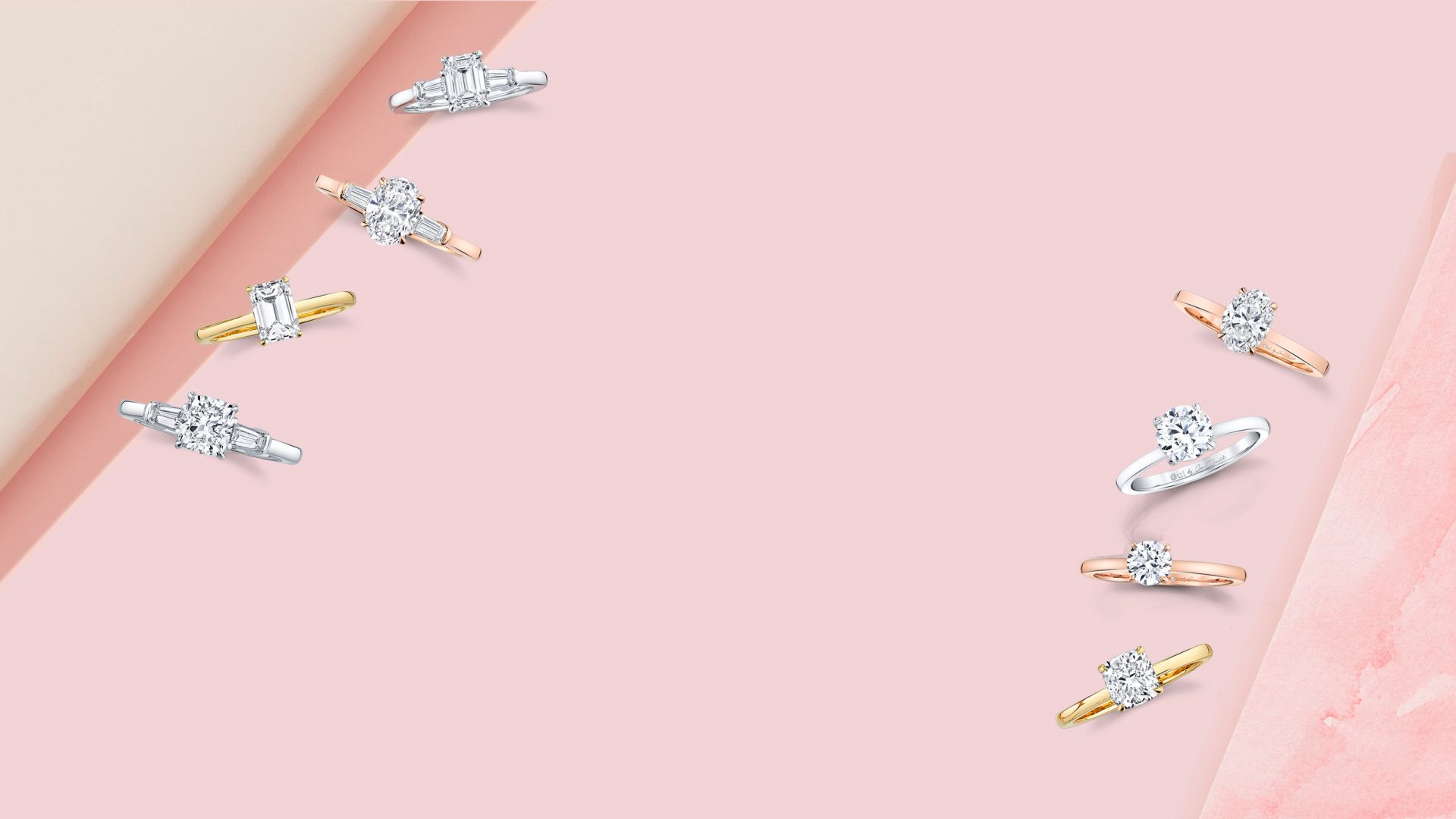 Lab Grown Engagement Rings Product Shots on Pink Background
