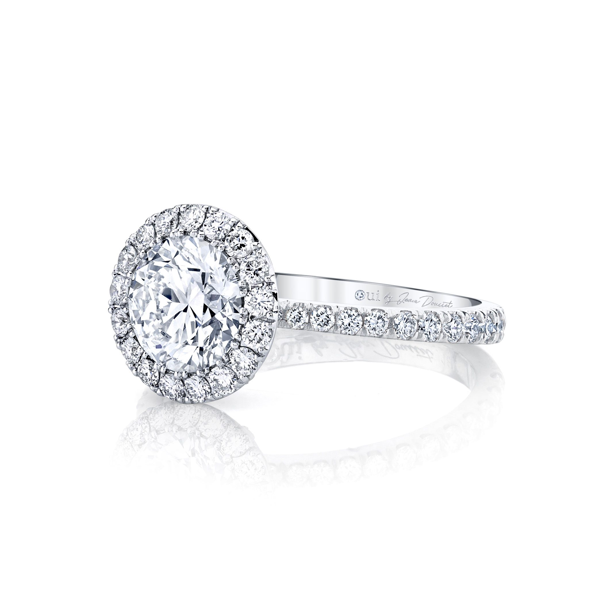 Eloise Seamless Halo® Round Brilliant Engagement Ring 18k White Gold Side Shot