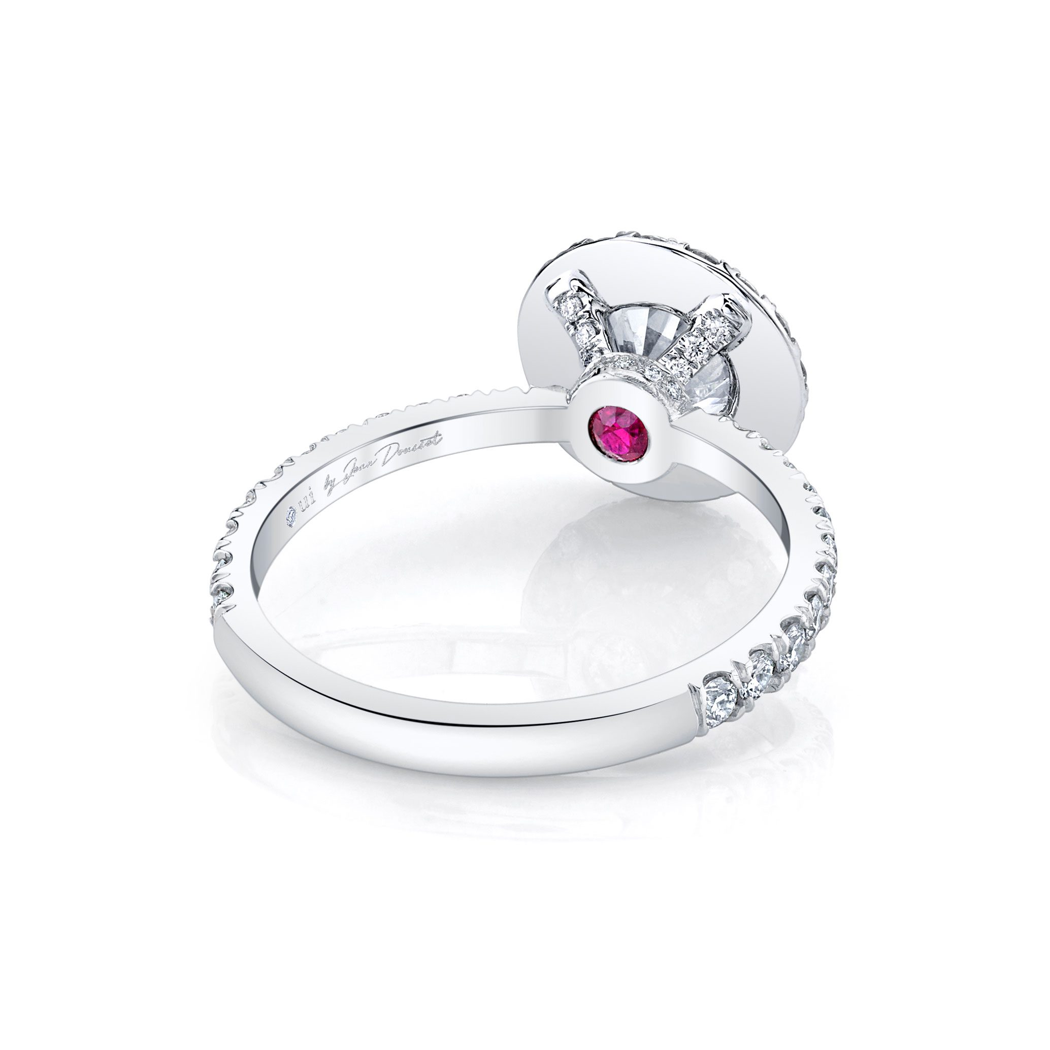 Eloise Seamless Halo® Round Brilliant Engagement Ring 18k White Gold Back Shot