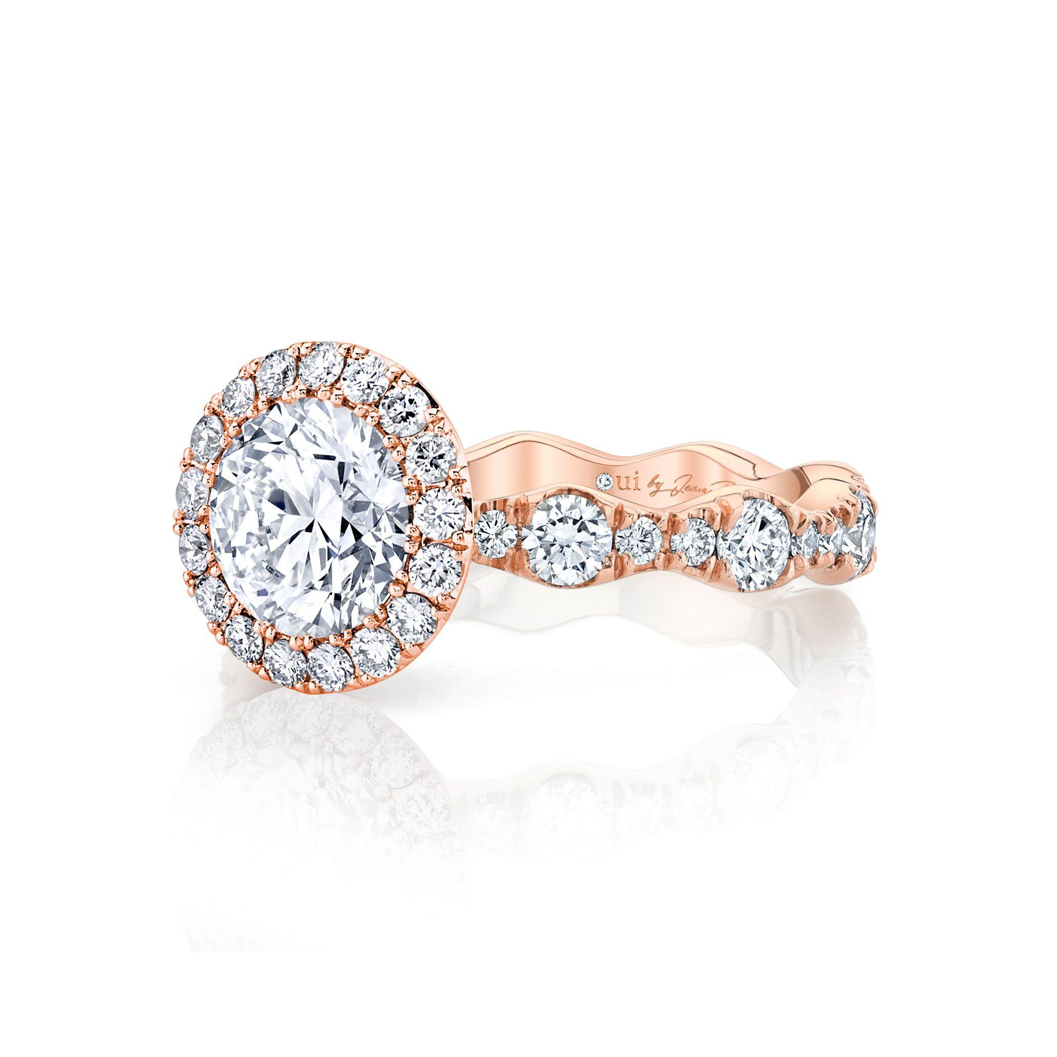 Yvonne Seamless Halo® Round Brilliant Engagement Ring 18k Rose Gold Side Shot