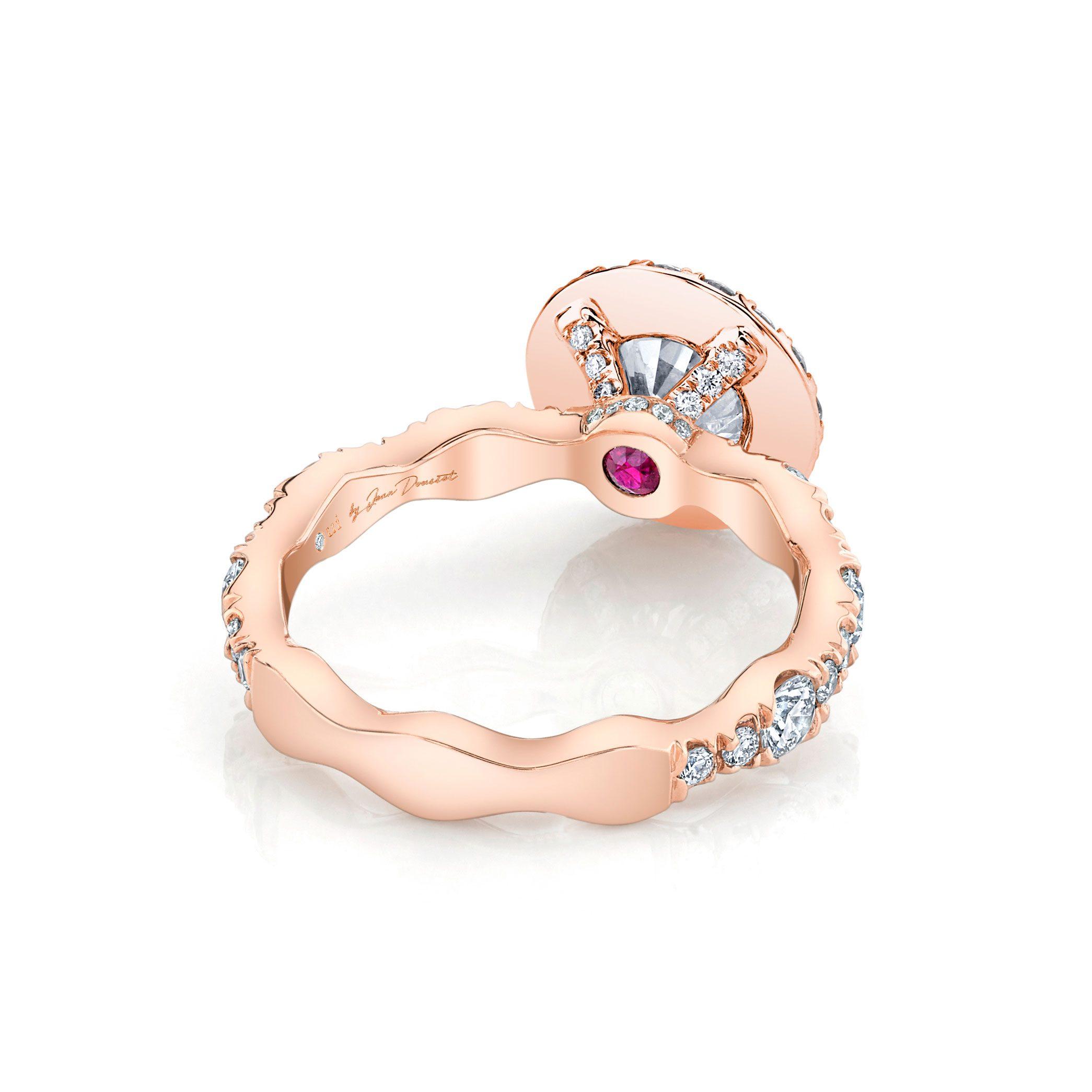 Yvonne Seamless Halo® Round Brilliant Engagement Ring 18k Rose Gold Back Shot