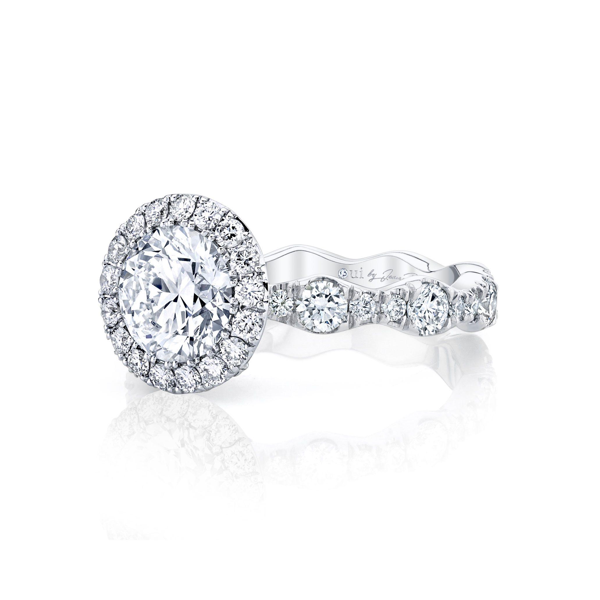 Yvonne Seamless Halo® Round Brilliant Engagement Ring 18k White Gold Side Shot