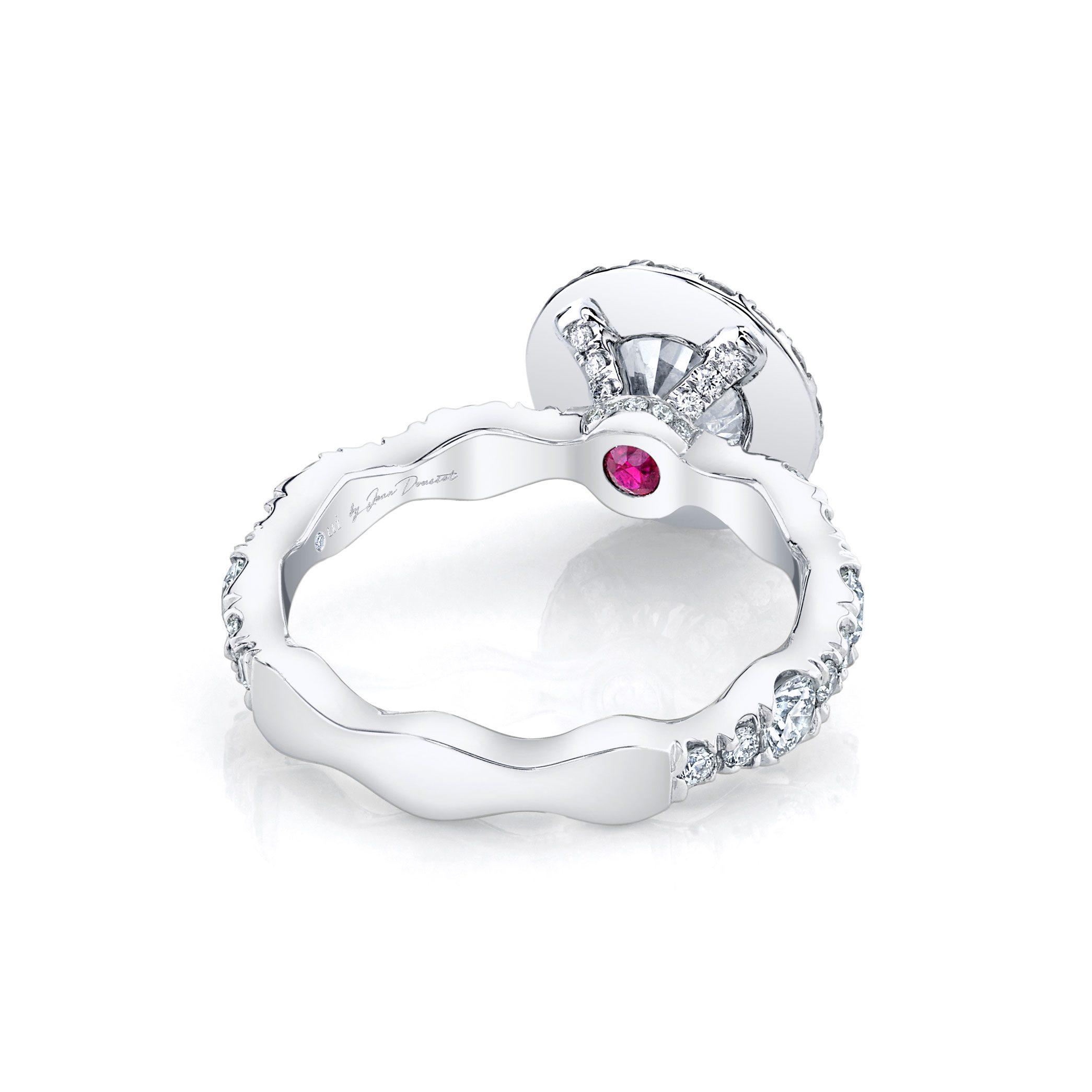 Yvonne Seamless Halo® Round Brilliant Engagement Ring 18k White Gold Back Shot