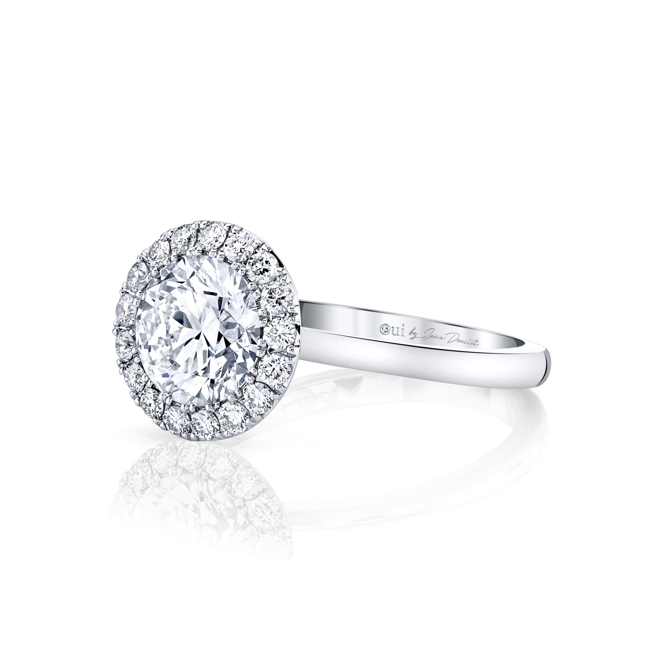 Colette Seamless Halo® Round Brilliant Engagement Ring 18k White Gold Side Shot