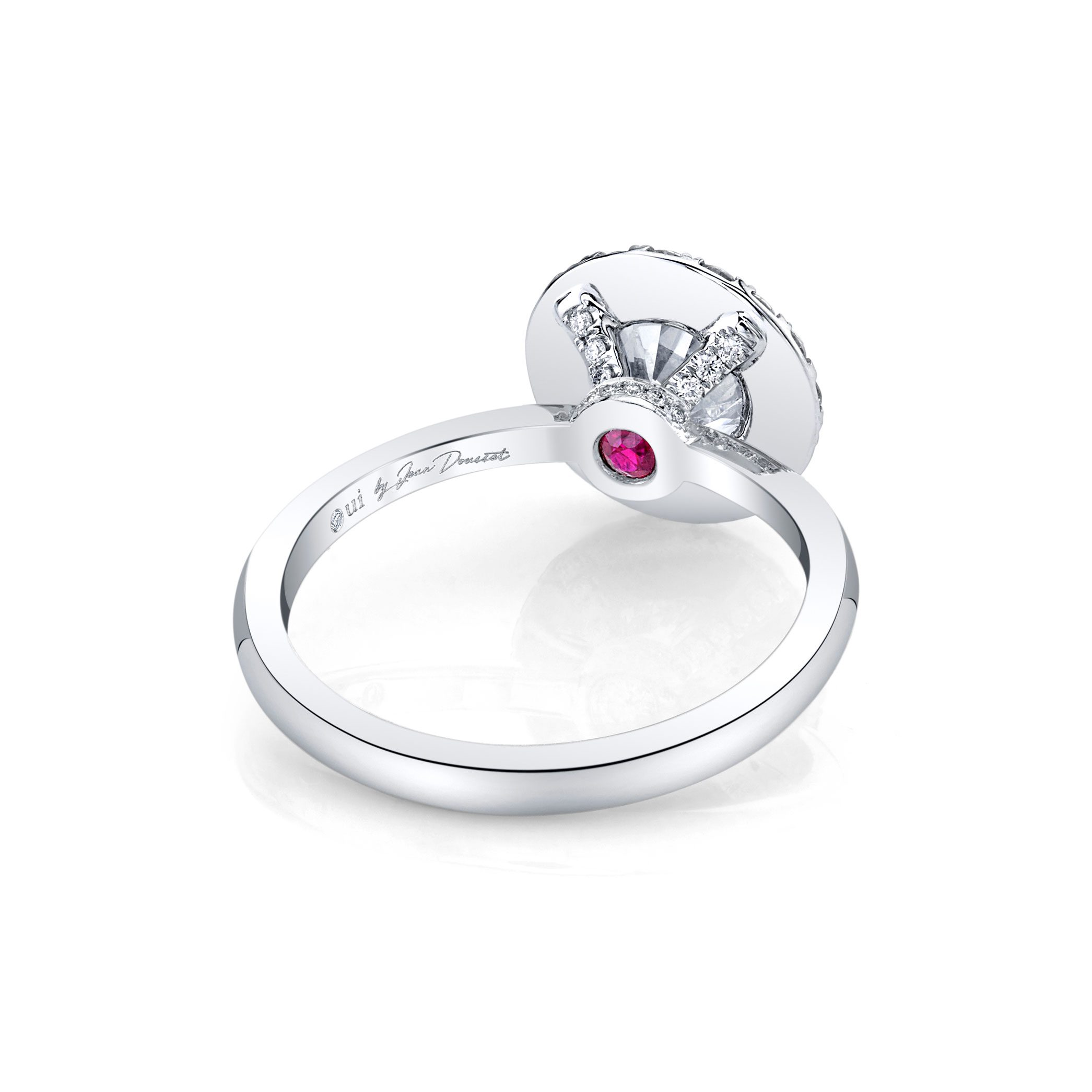 Colette Seamless Halo® Round Brilliant Engagement Ring 18k White Gold Back Shot
